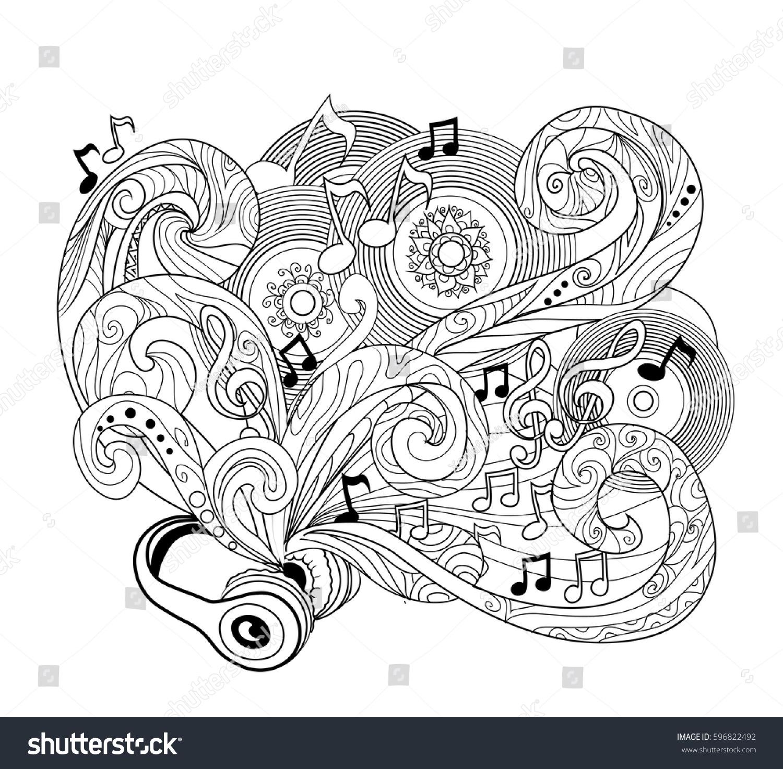 Doodle Design Headphoneszenart Music Conceptpage Coloring ...