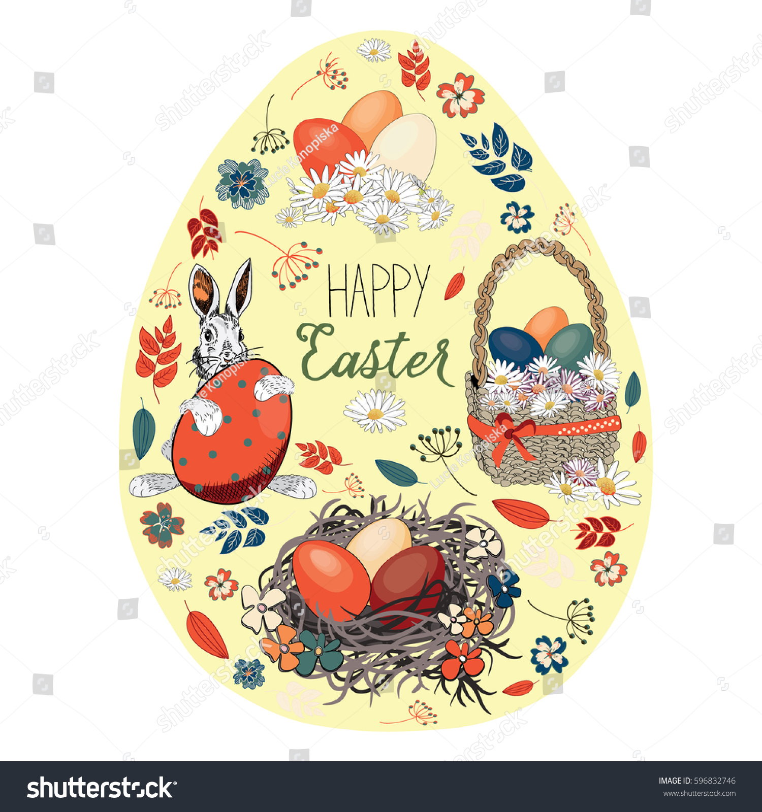beautiful easter eggs basket nest easter stock vector 596832746
