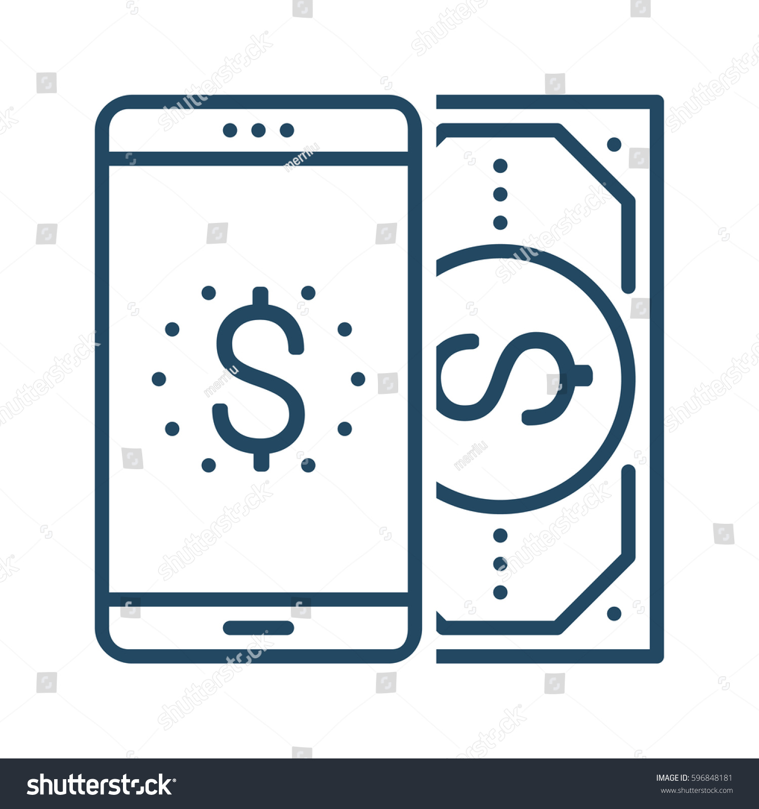 Mobile Phone Dollar Bill Vector Icon Stock Vector 596848181