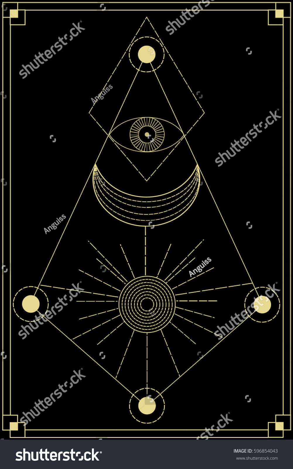 Sacred Geometry Symbol Including Moon Sun Stock Vector Royalty Free