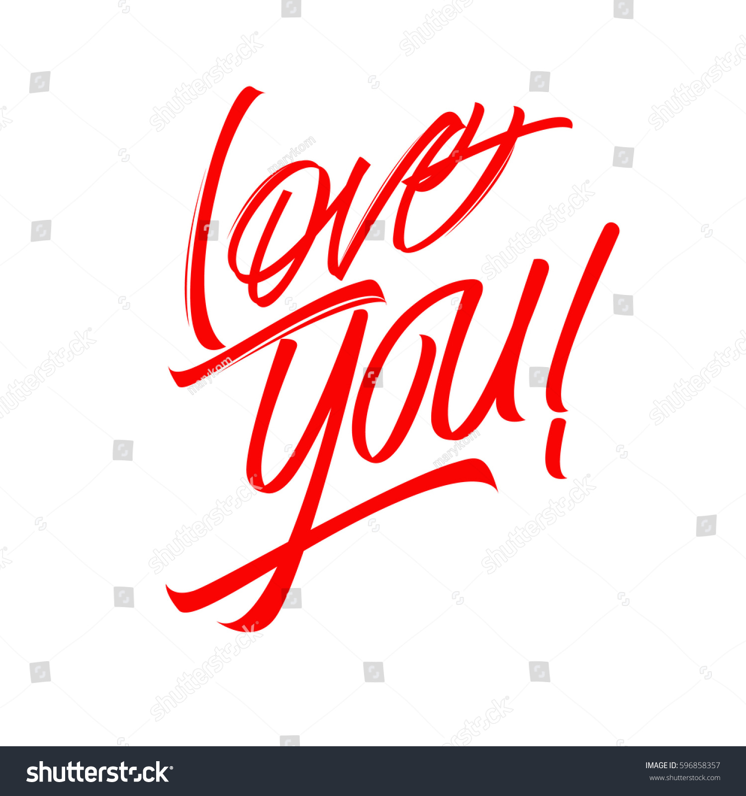 Love You Handwritten Inscription Painted Red Stock Vector (Royalty ...