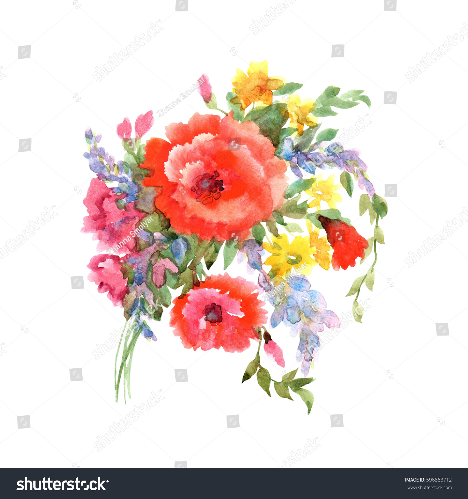 Beautiful Bouquet Spring Flowers Red Poppies Stock Illustration