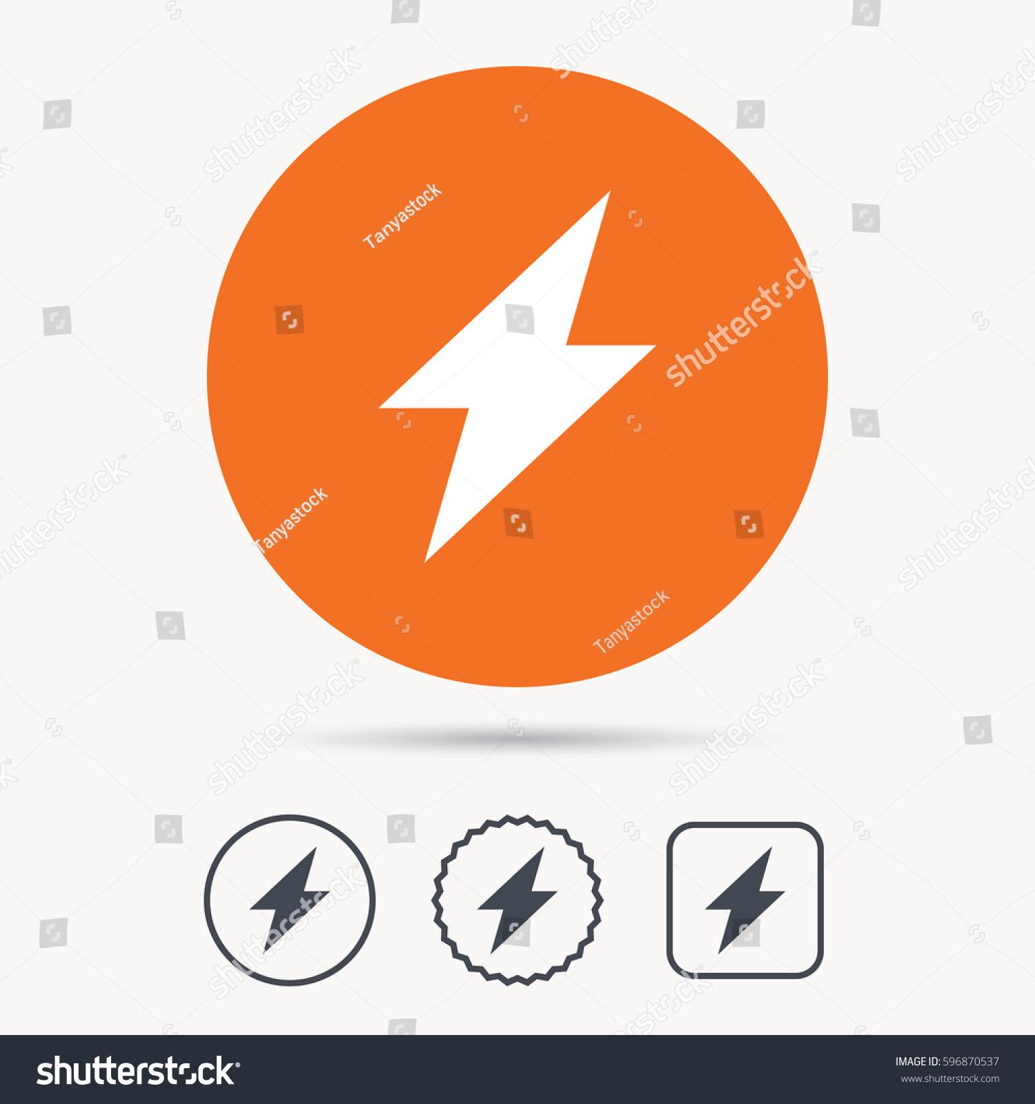 Lightning Icon Electricity Energy Power Symbol Stock Illustration