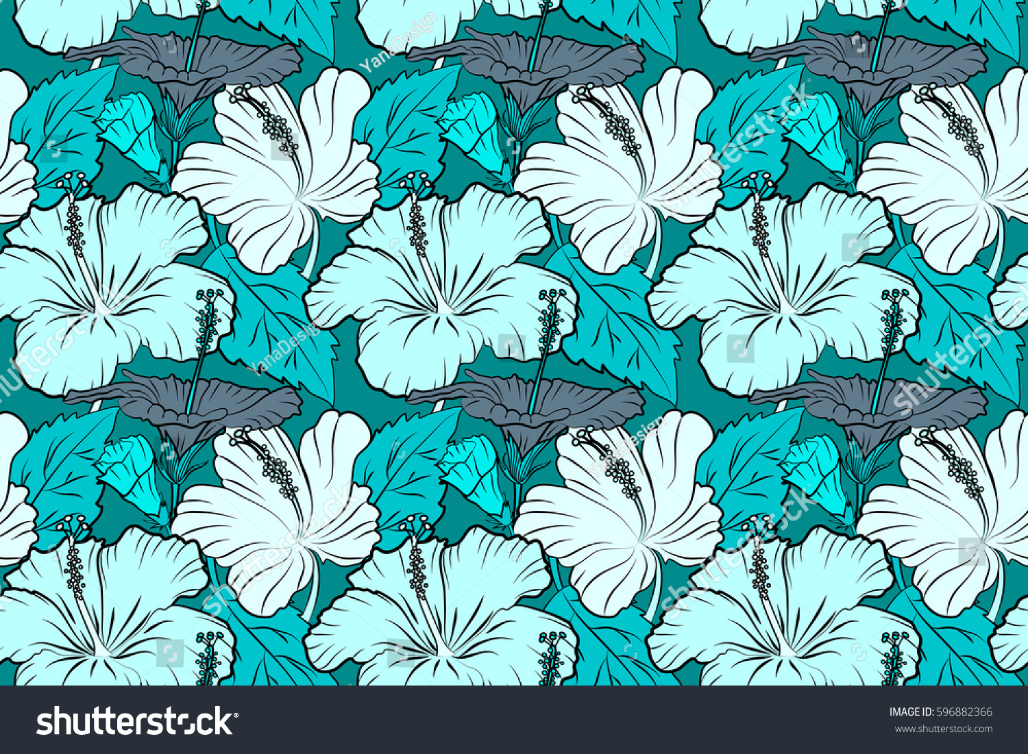 Motley Illustration Seamless Exotic Pattern With Blue Tropical