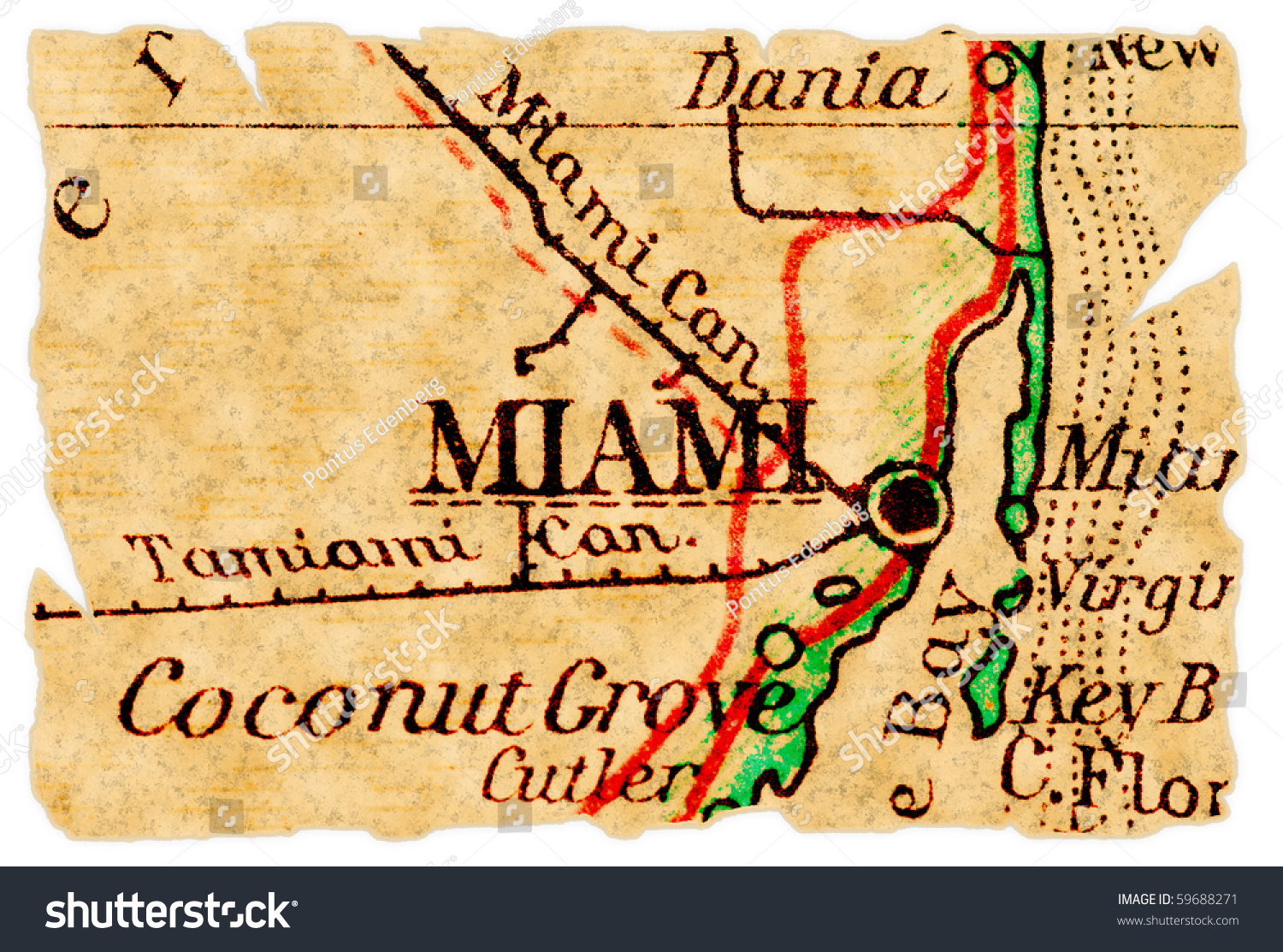 Miami Florida On An Old Torn Map From  Isolated Part Of The - Map of miami florida