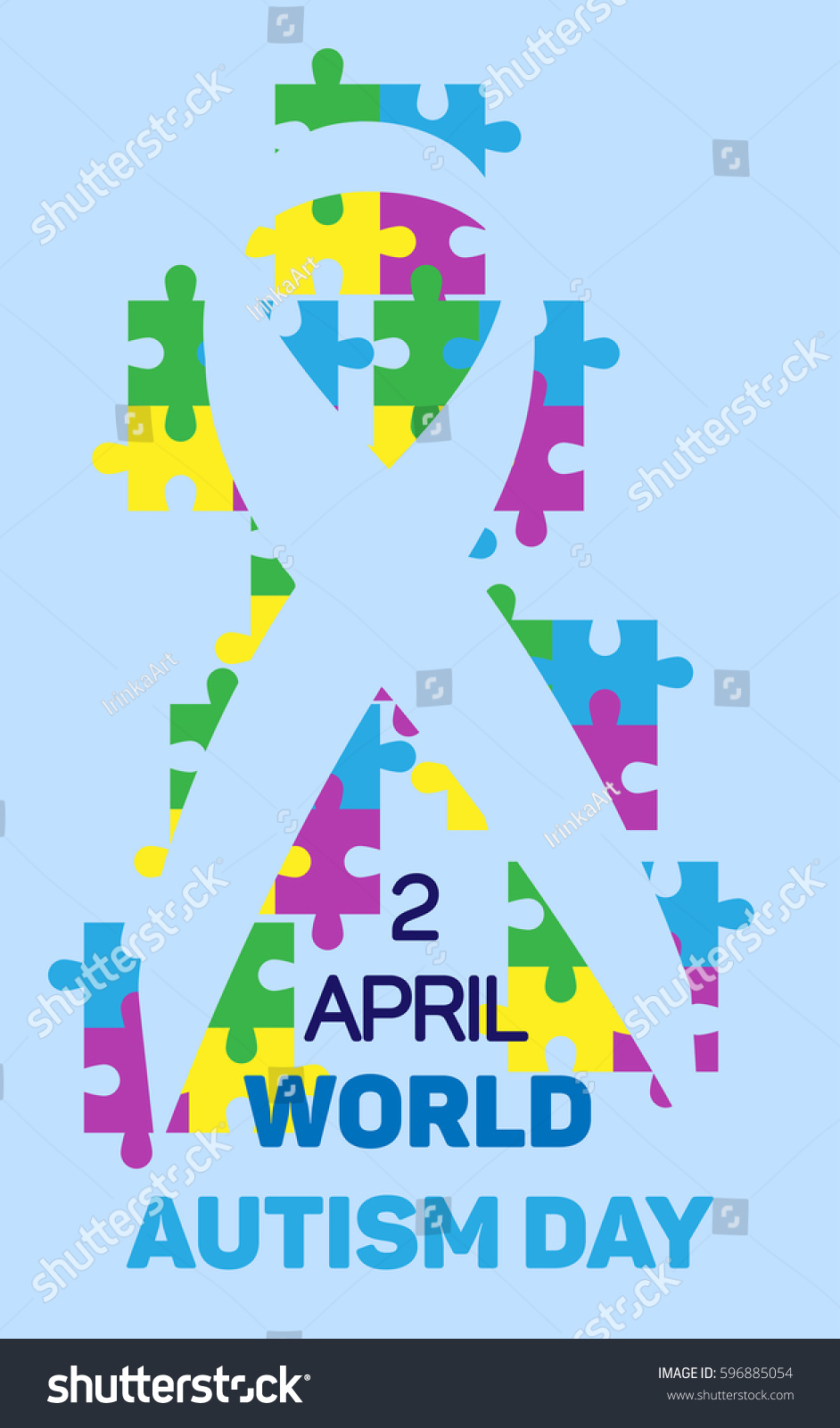 World autism awareness day ribbon colorful stock vector 596885054 world autism awareness day ribbon colorful puzzles vector of light blue background symbol of biocorpaavc