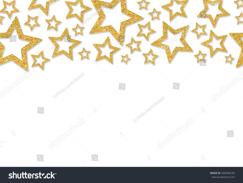 Border Gold Stars Sequin Confetti Glitter Stock Illustration 596946230