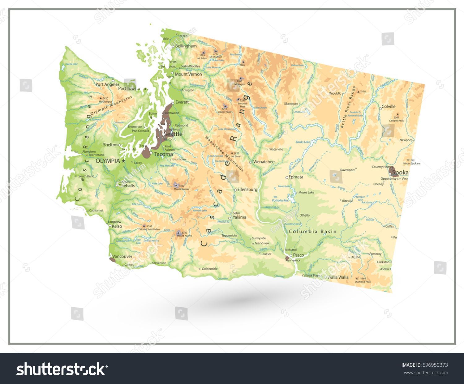 Physical Map Washington State Isolated On Stock Vector 596950373