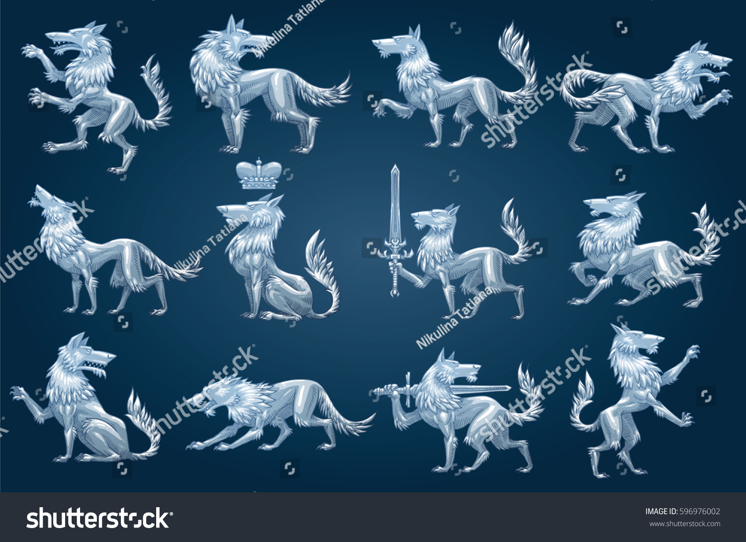 How to breed heraldic dragon - Vector Set Of Twelve Images Of Silver Heraldic Wolves In Different Poses On A Dark Blue