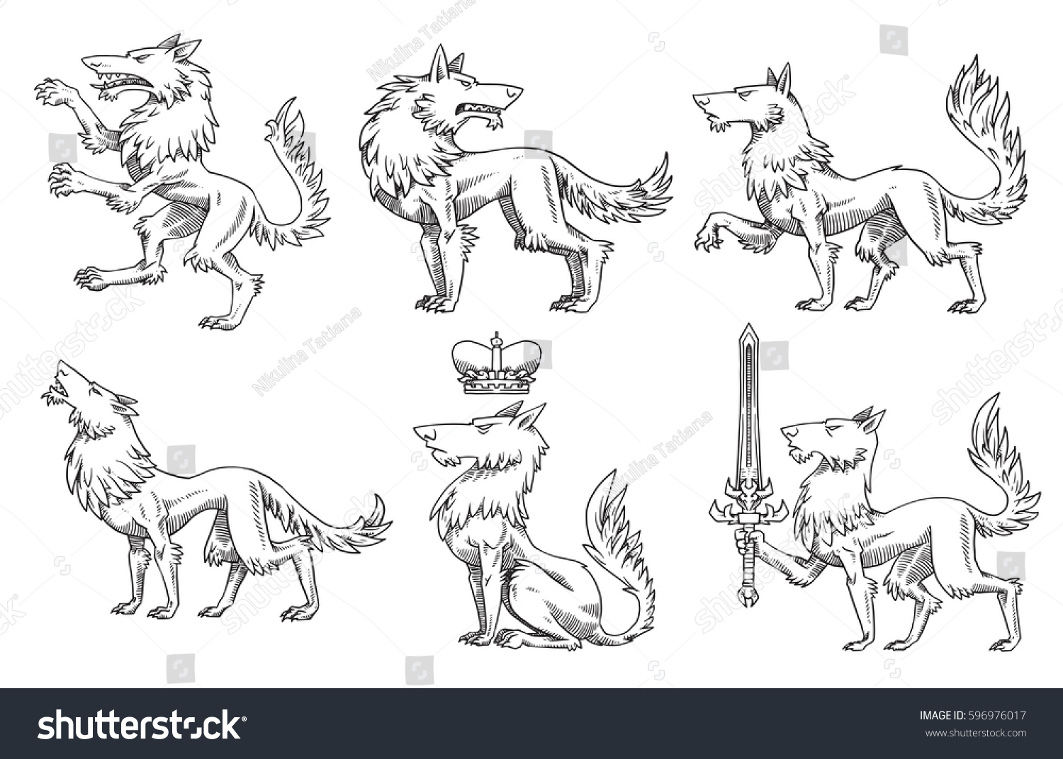 How to breed heraldic dragon - Vector Set Of Images Of Heraldic Wolves In Different Poses On A White Background Coat