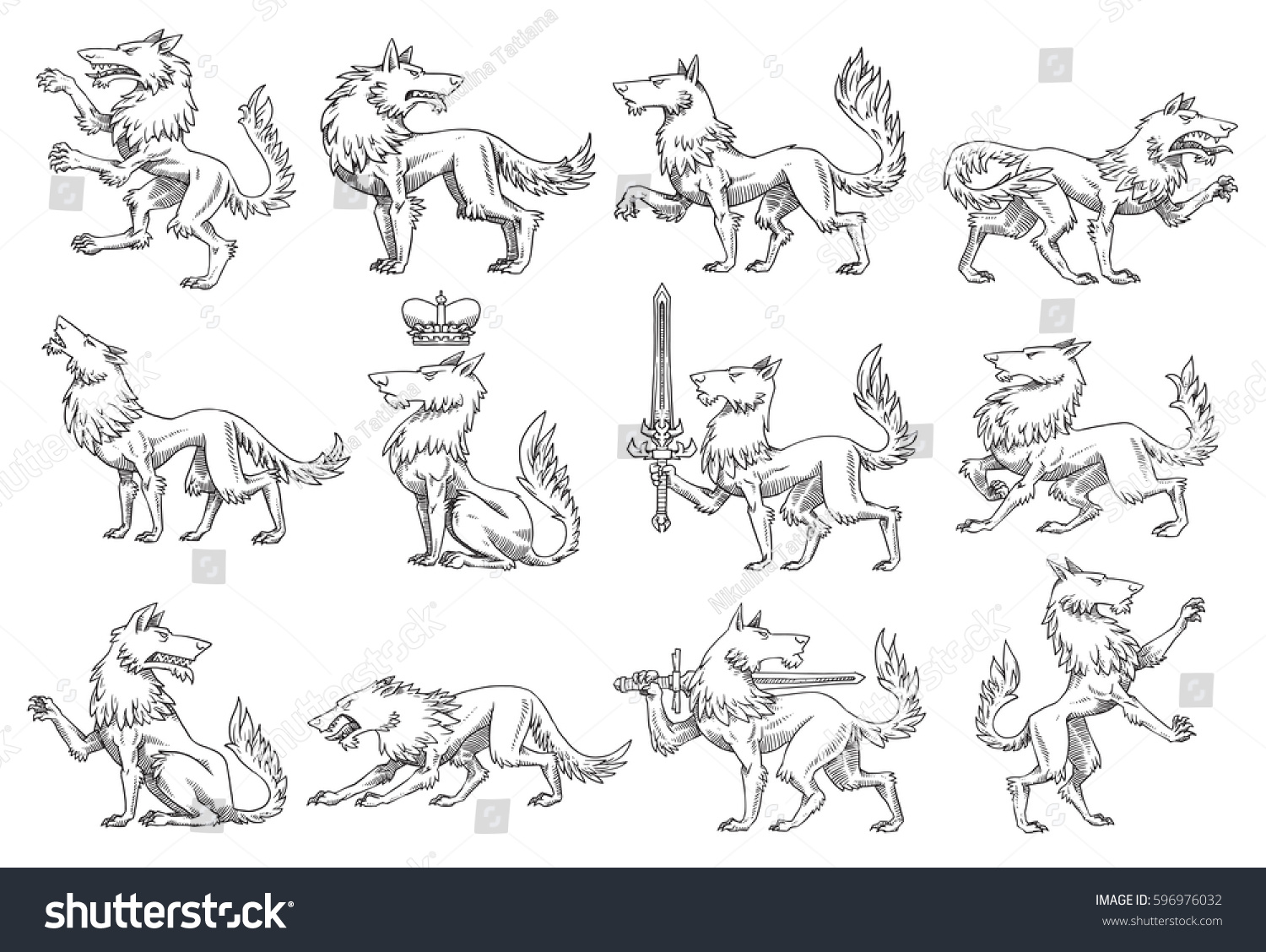 How to breed heraldic dragon - Vector Set Of Twelve Images Of Heraldic Wolves In Different Poses On A White Background