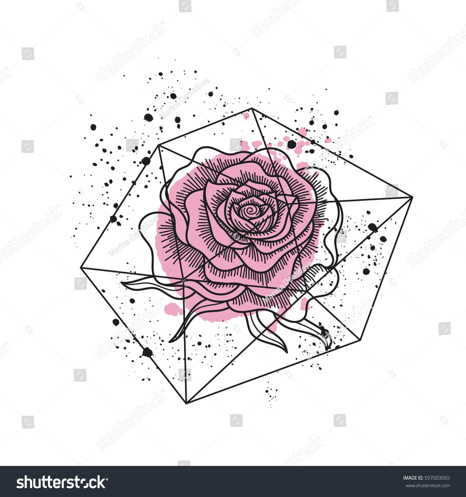 Black White Rose Flower Polygonal Terrarium Stock Vector Royalty Free 597003065