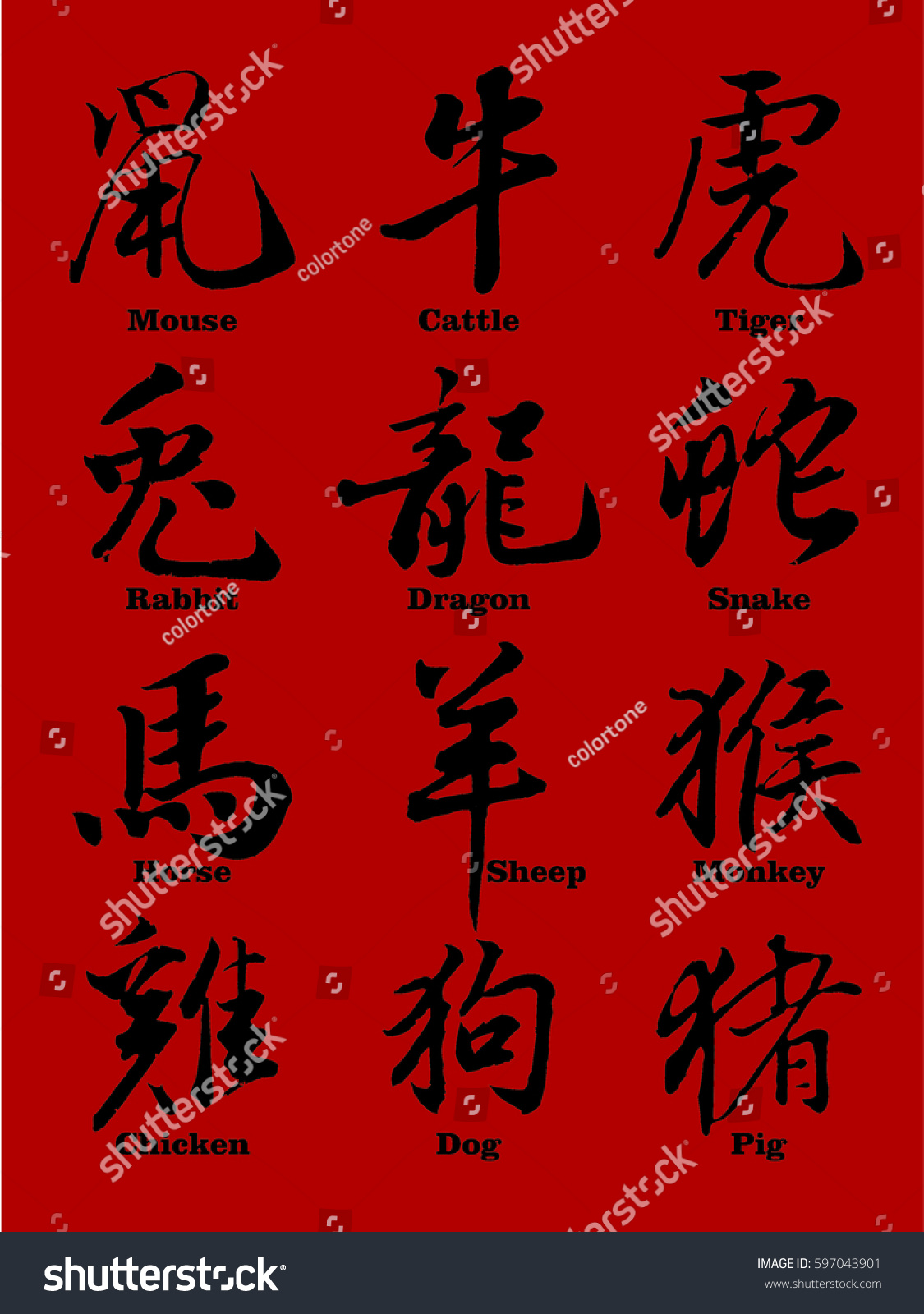 Chinese Zodiac 3d Symbols With Translation Each Object On Separate