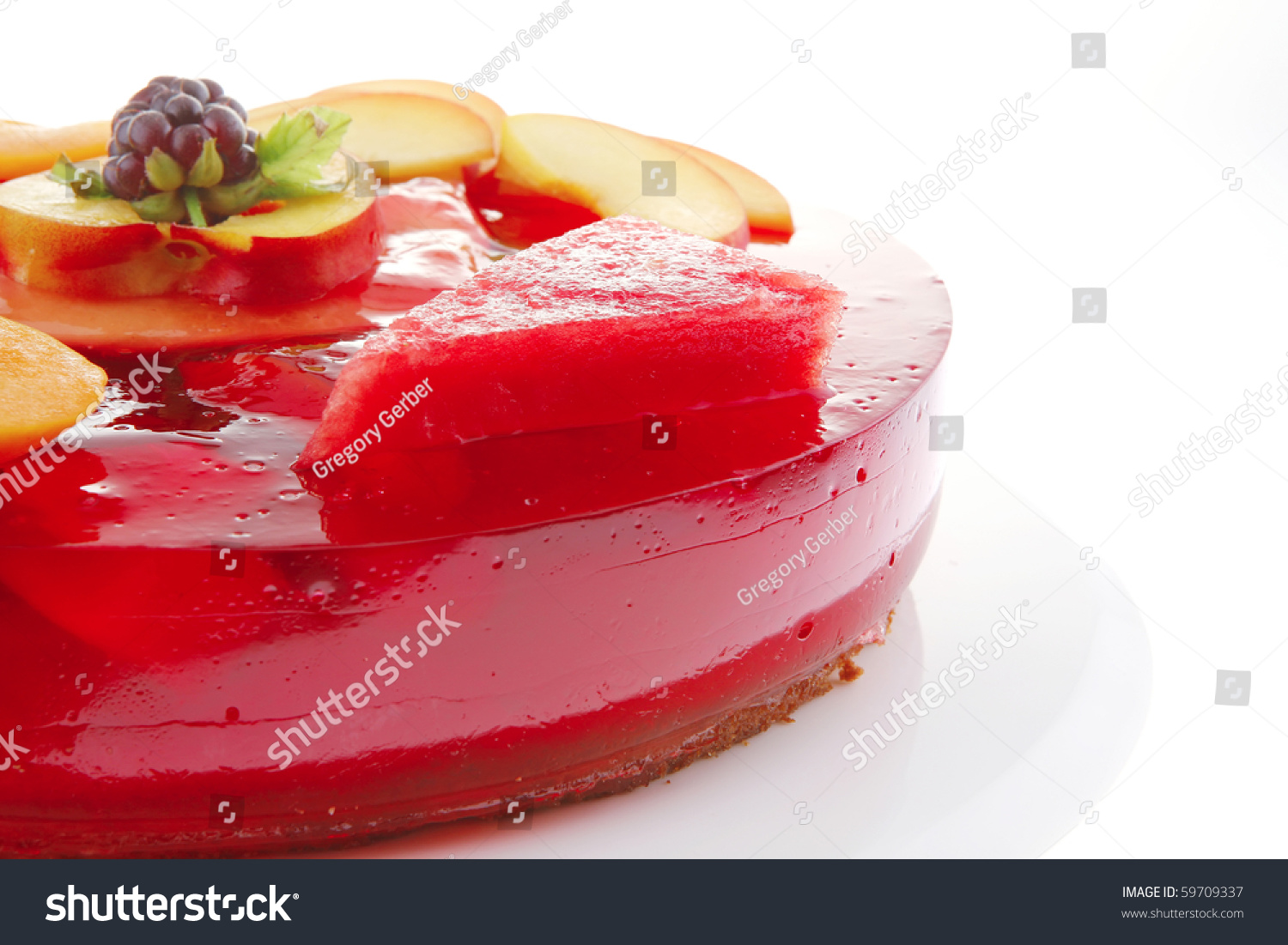 Red Jelly Cake Recipe: Sweet Cold Red Jelly Cake With Peach And Nectarine Stock