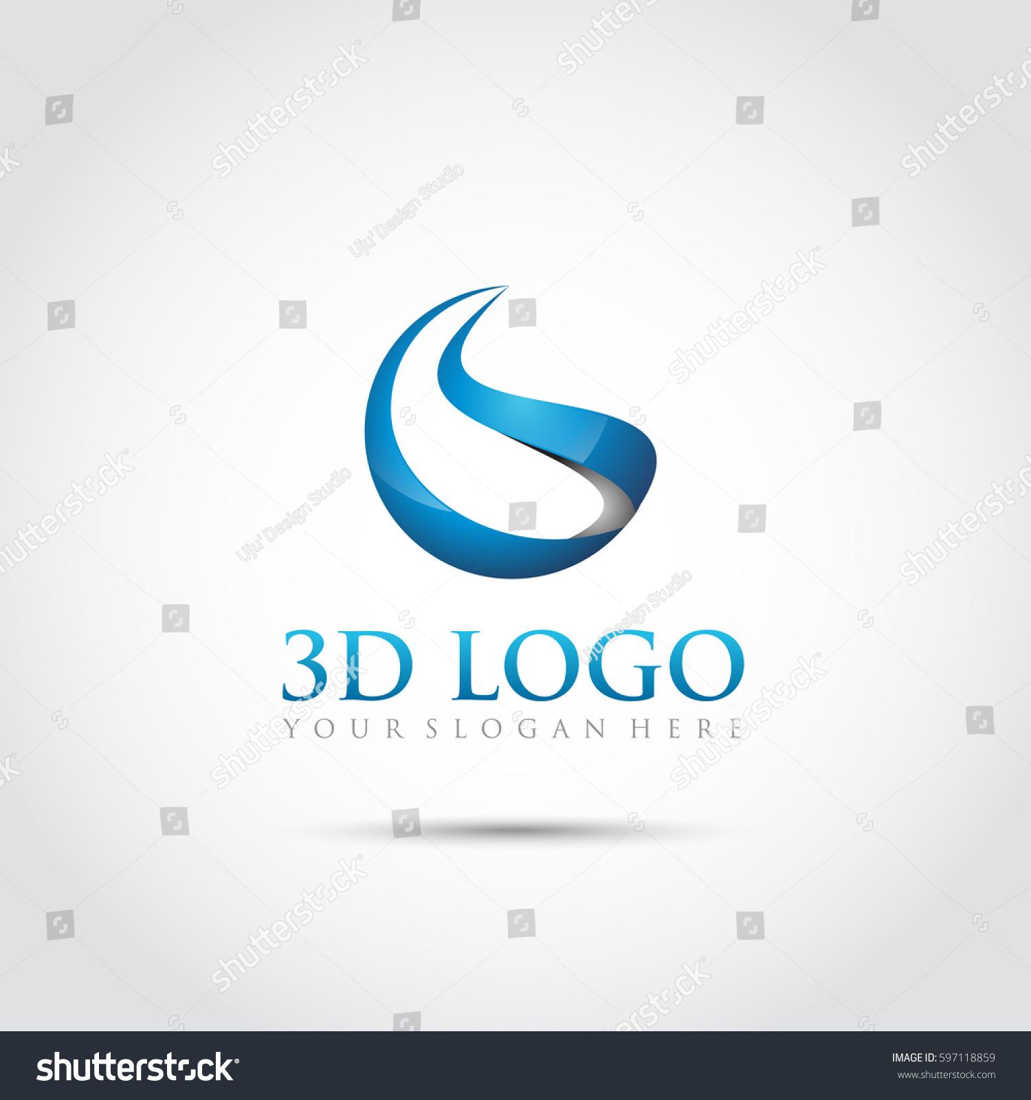 abstract 3d logo template vector illustrator stock vector 597118859 shutterstock. Black Bedroom Furniture Sets. Home Design Ideas