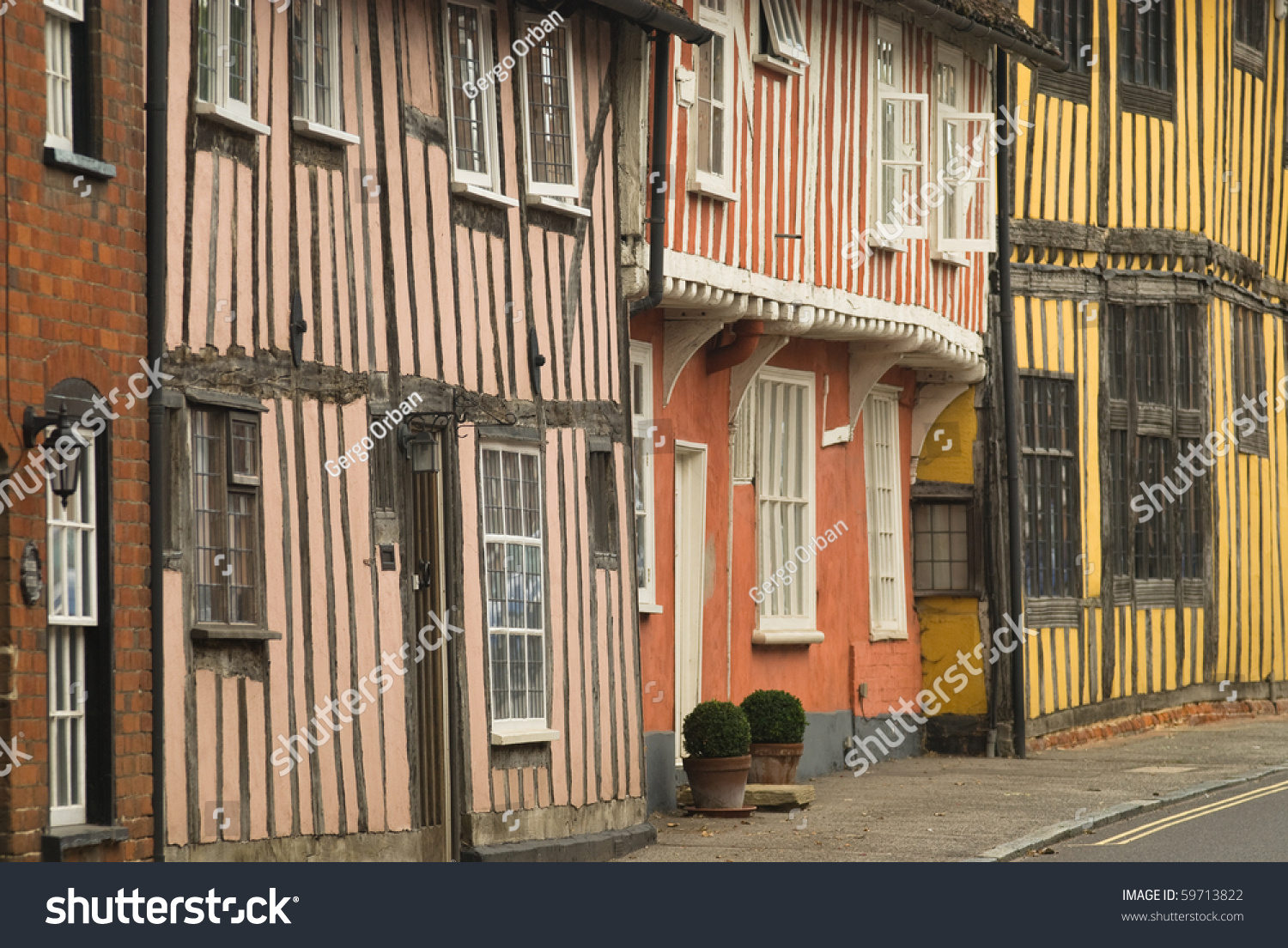 Tudor Facade closeup facades timberframed tudor houses lavenham stock photo
