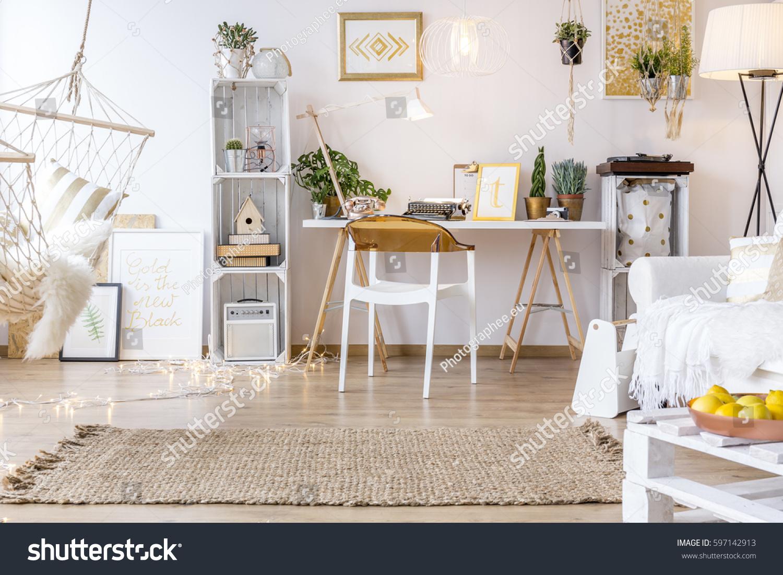 Spacious Creative Boho Style Room Hammock Stock Photo (Safe to Use ...