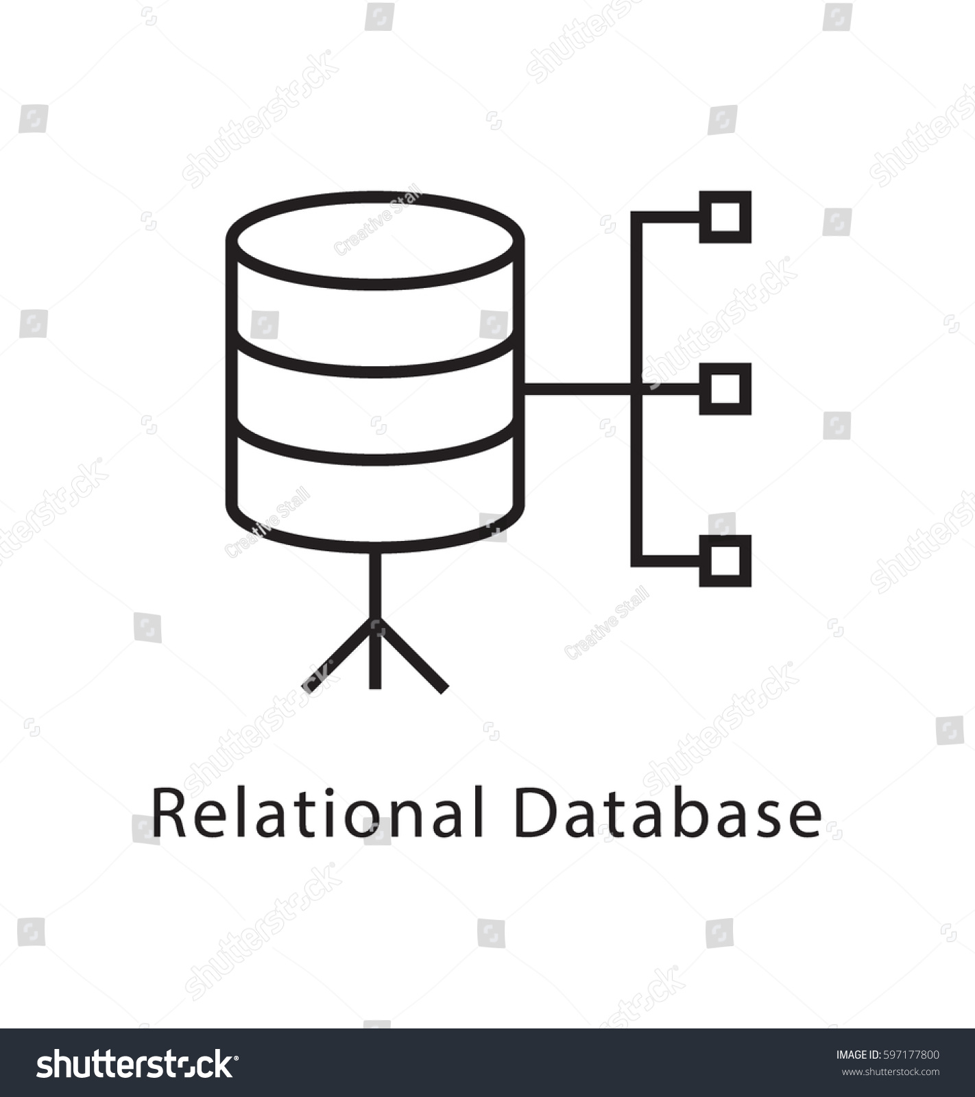 Relational database vector line icon stock vector 597177800 relational database vector line icon ccuart Images