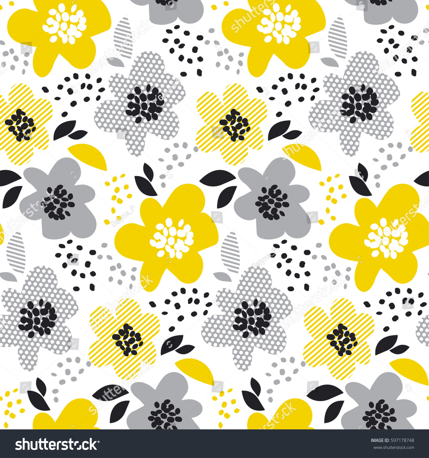 Beige Gray Yellow Floral Background Contemporary Stock Vector
