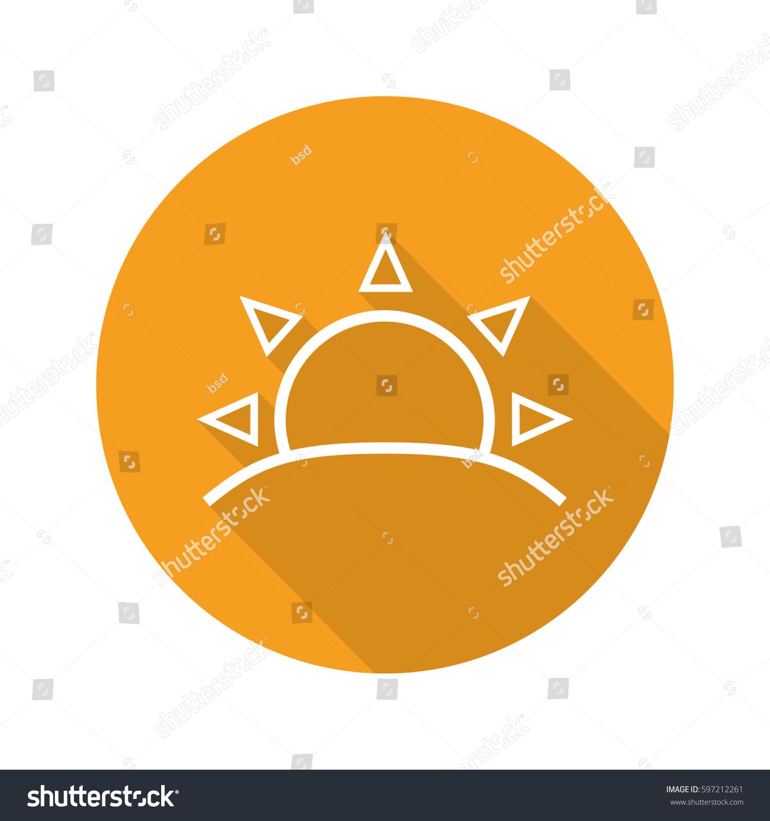 Rising Sun Flat Linear Long Shadow Stock Vector Royalty Free