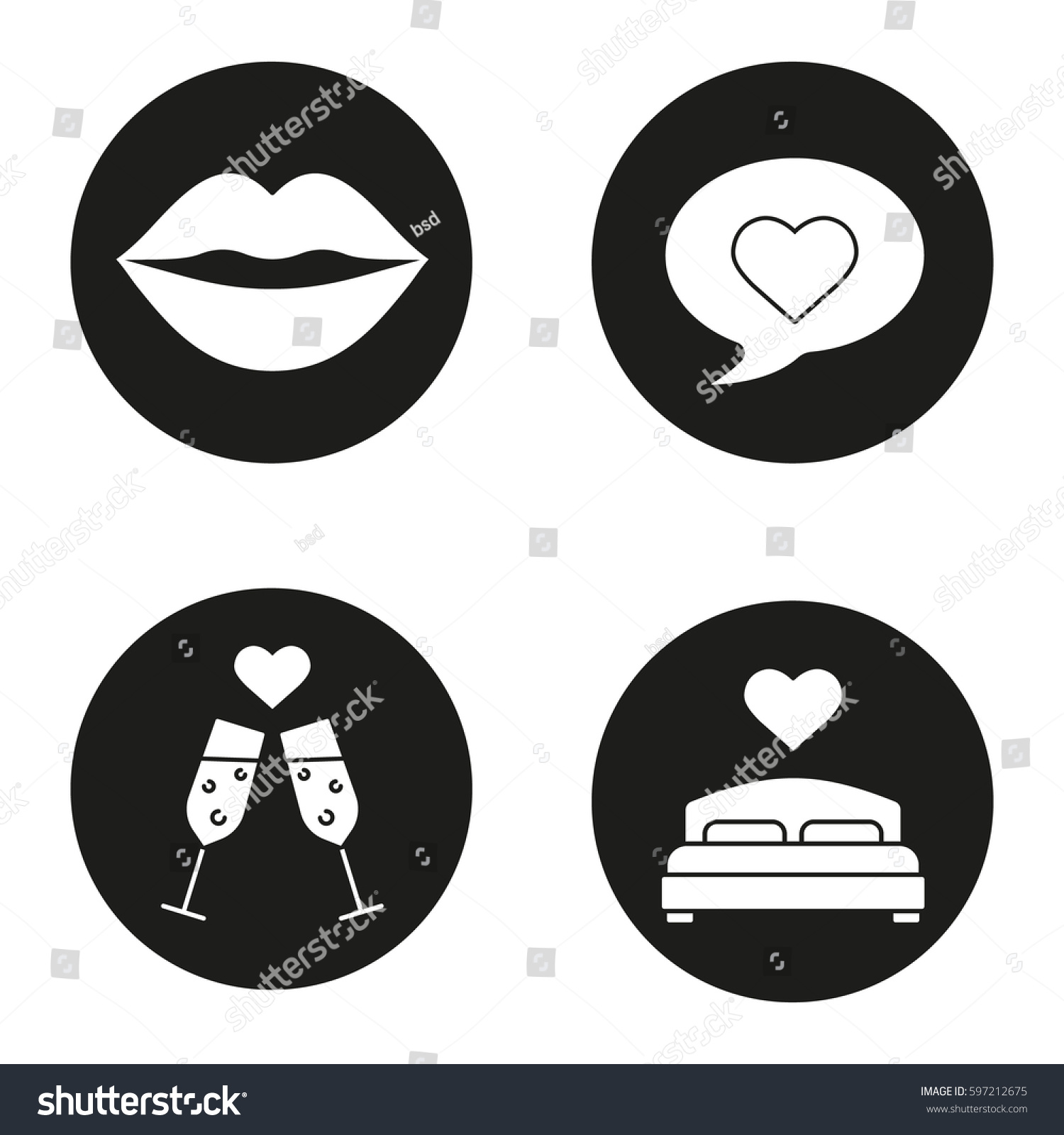 Romantics Icons Set Kiss Love Message Stock Vector Royalty Free