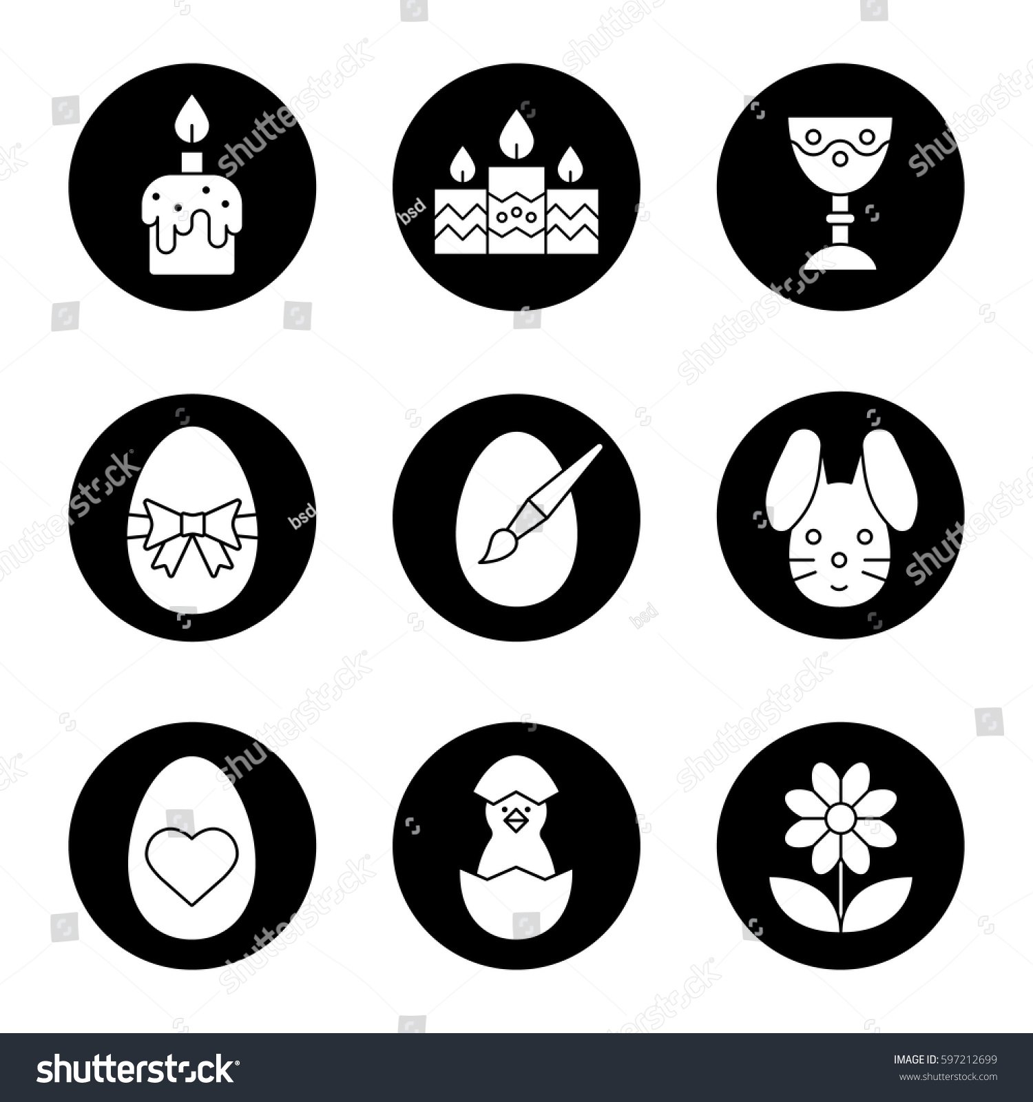 Beautiful Easter Icons Set. Candles, Goblet, Newborn Chicken In Egg Shell, Flower,