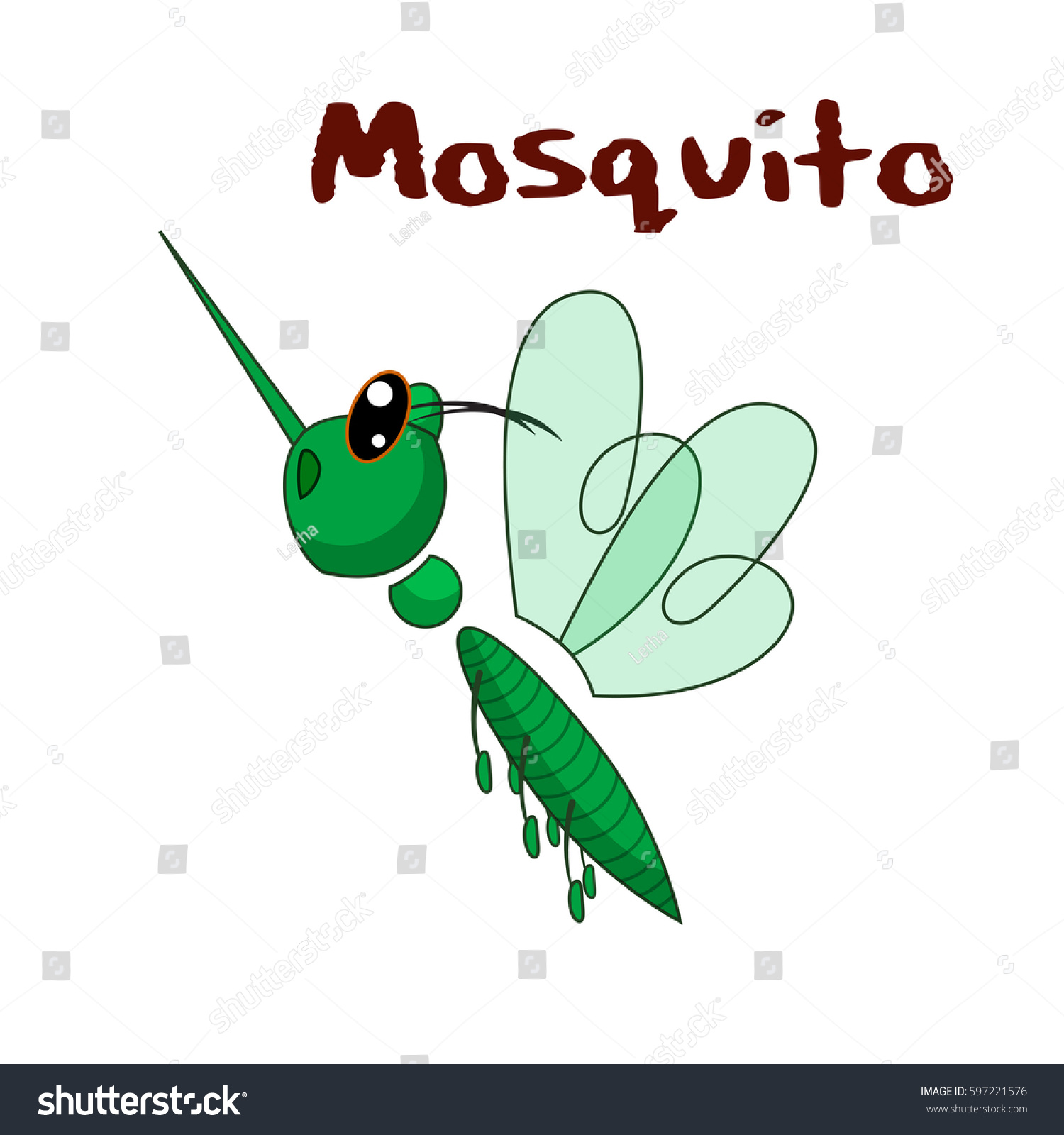 Cute Green Mosquito Flying Up Vector Stock Vector HD (Royalty Free ...