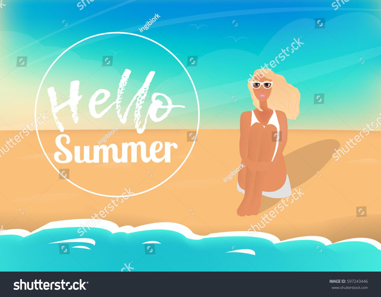 Incroyable Hello Summer Vector Poster: Sea, Girl, Sand, Sky, Dog And Summer
