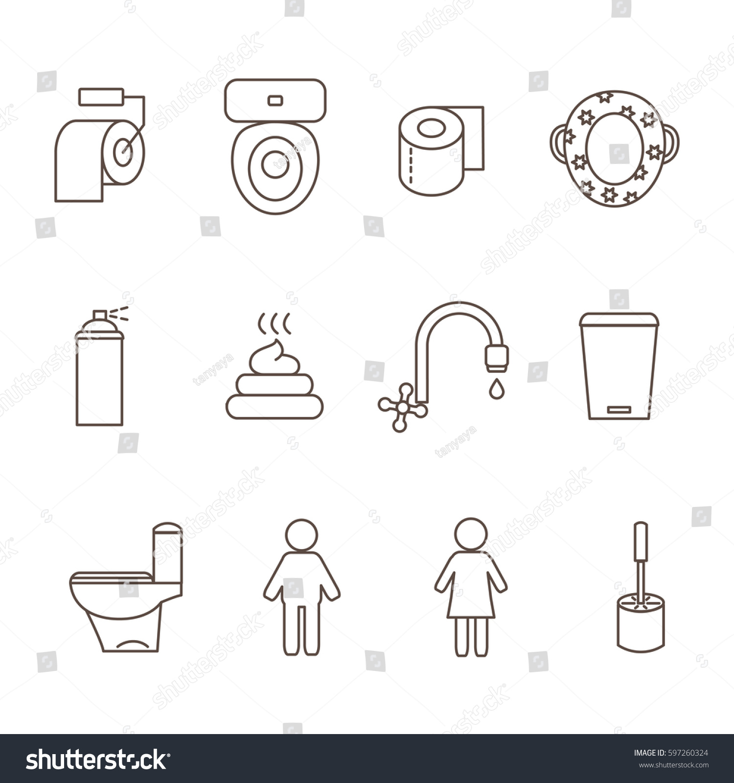 Icons Toilet Room Style Outline Toilet Stock Vector (2018) 597260324 ...