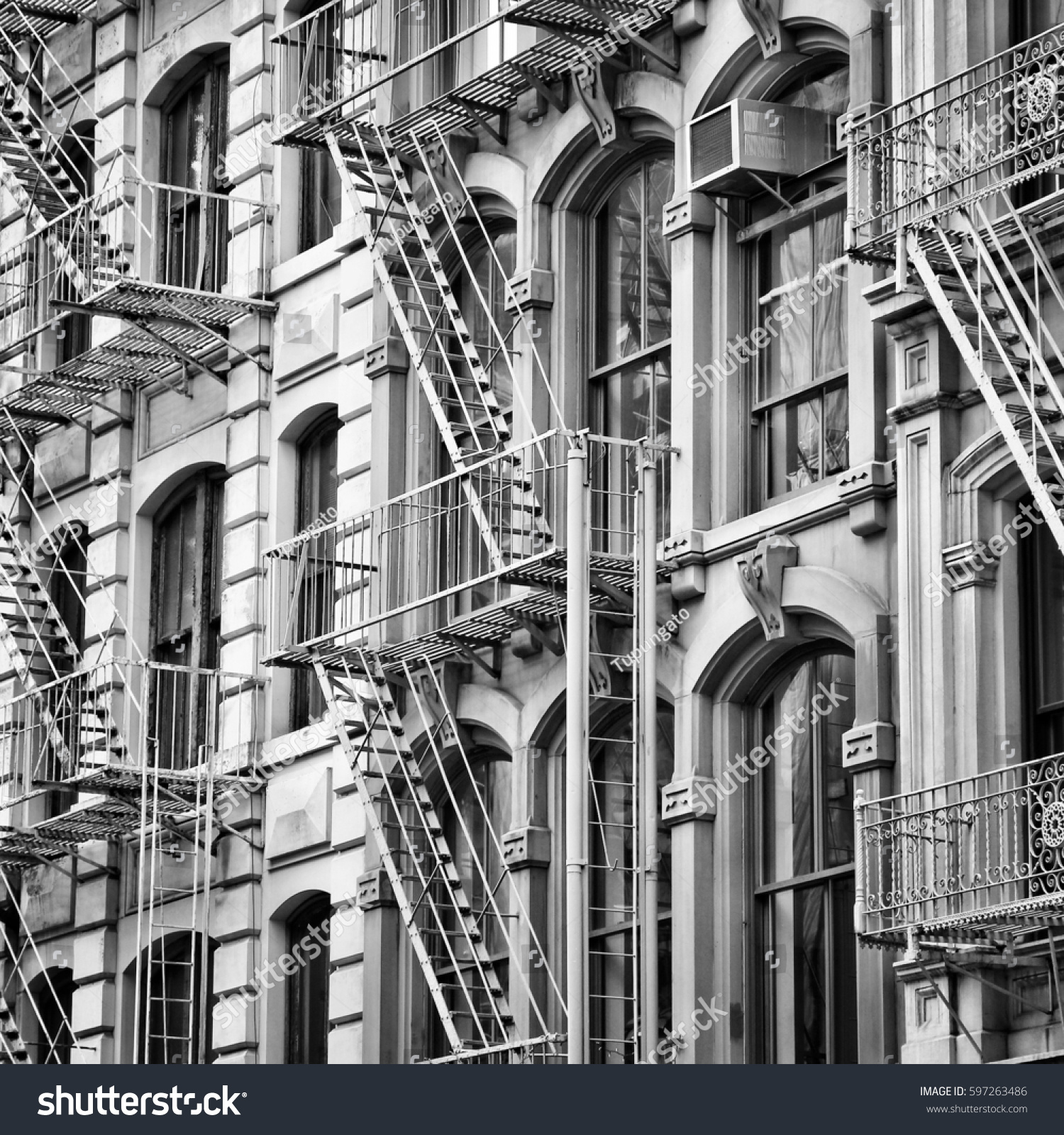 old new york city architecture fire stock photo 597263486