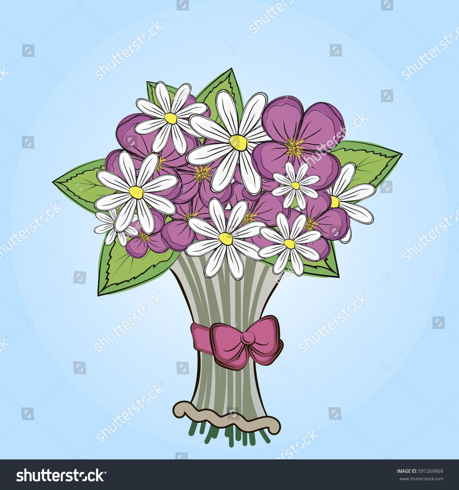 Card Cute Bouquet Flowers Vector Illustration Stock Vector (Royalty ...