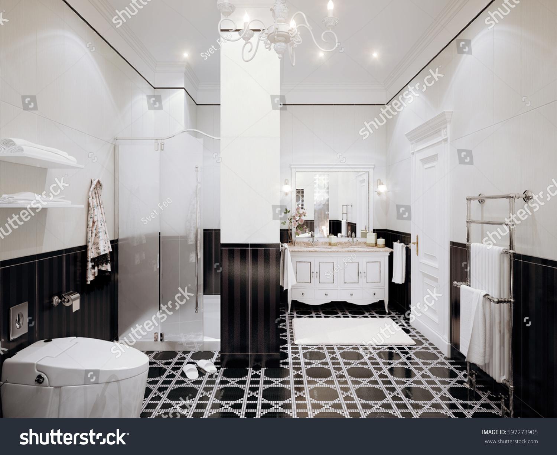 Classic Bathroom Interior Design White Black Stock Illustration ...