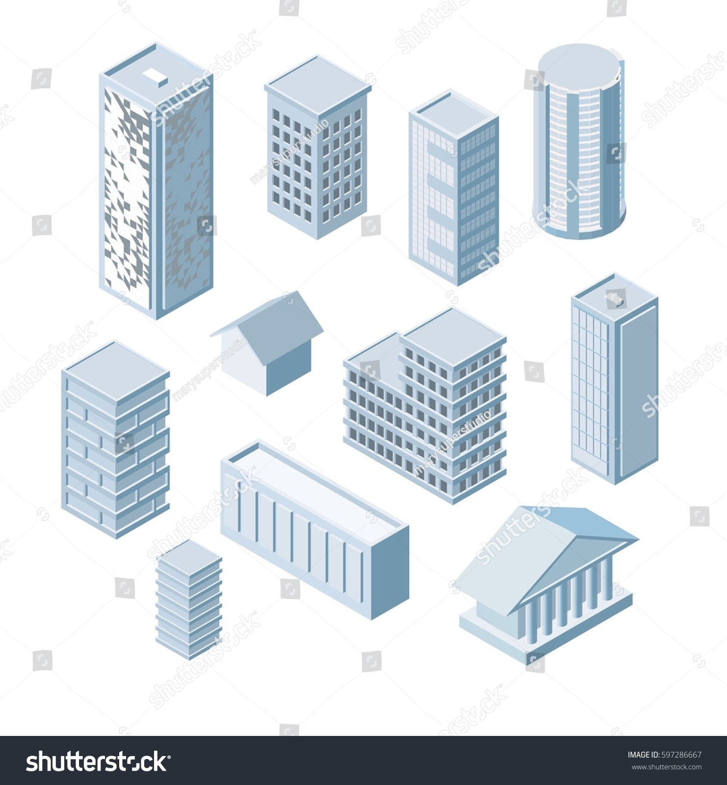 Build Your Own Isometric City Vector Stock Vector 597286667 ...