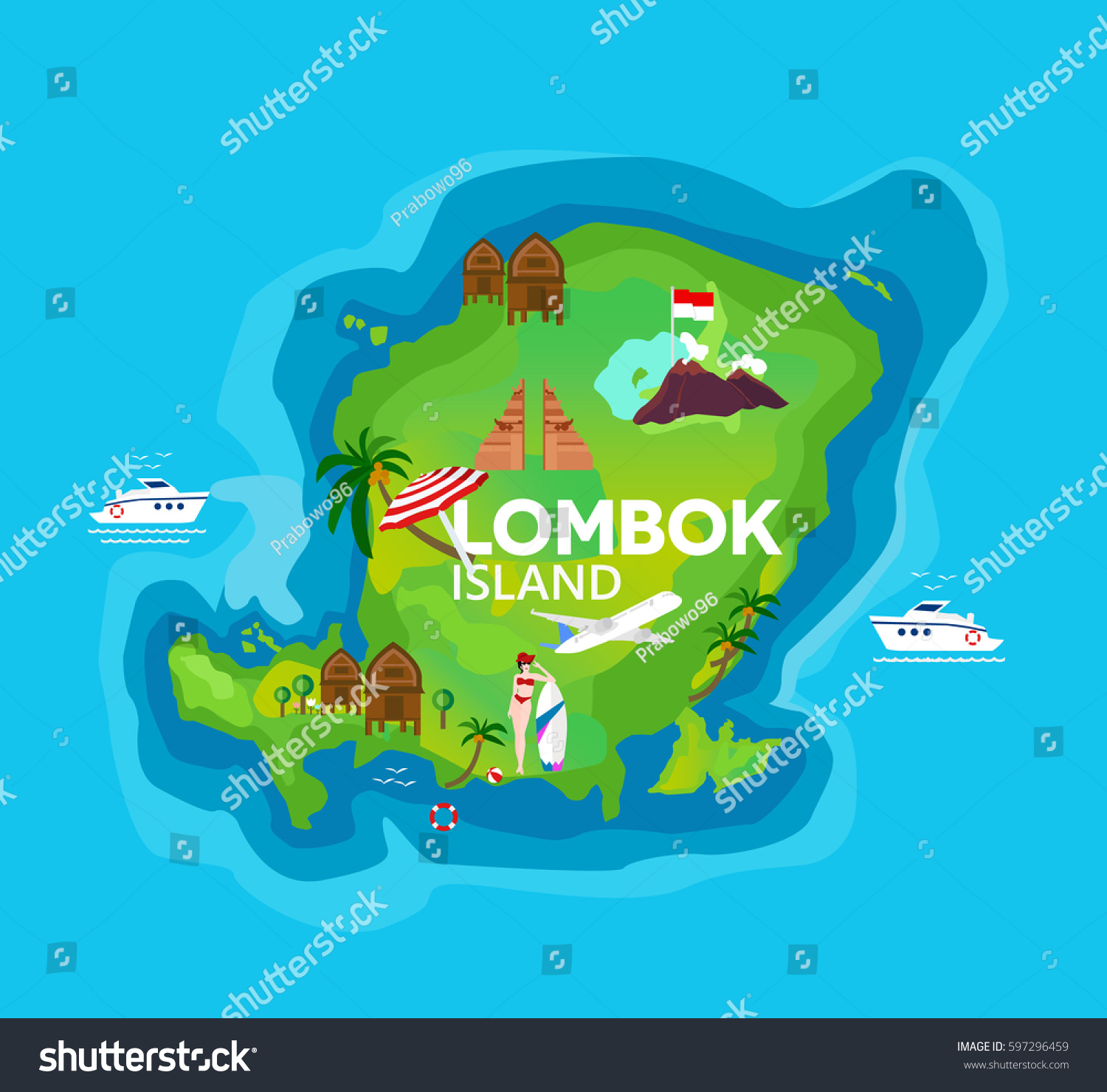 Travel map lombok island indonesia vector vectores en stock travel map of lombok island at indonesia vector illustration gumiabroncs Image collections