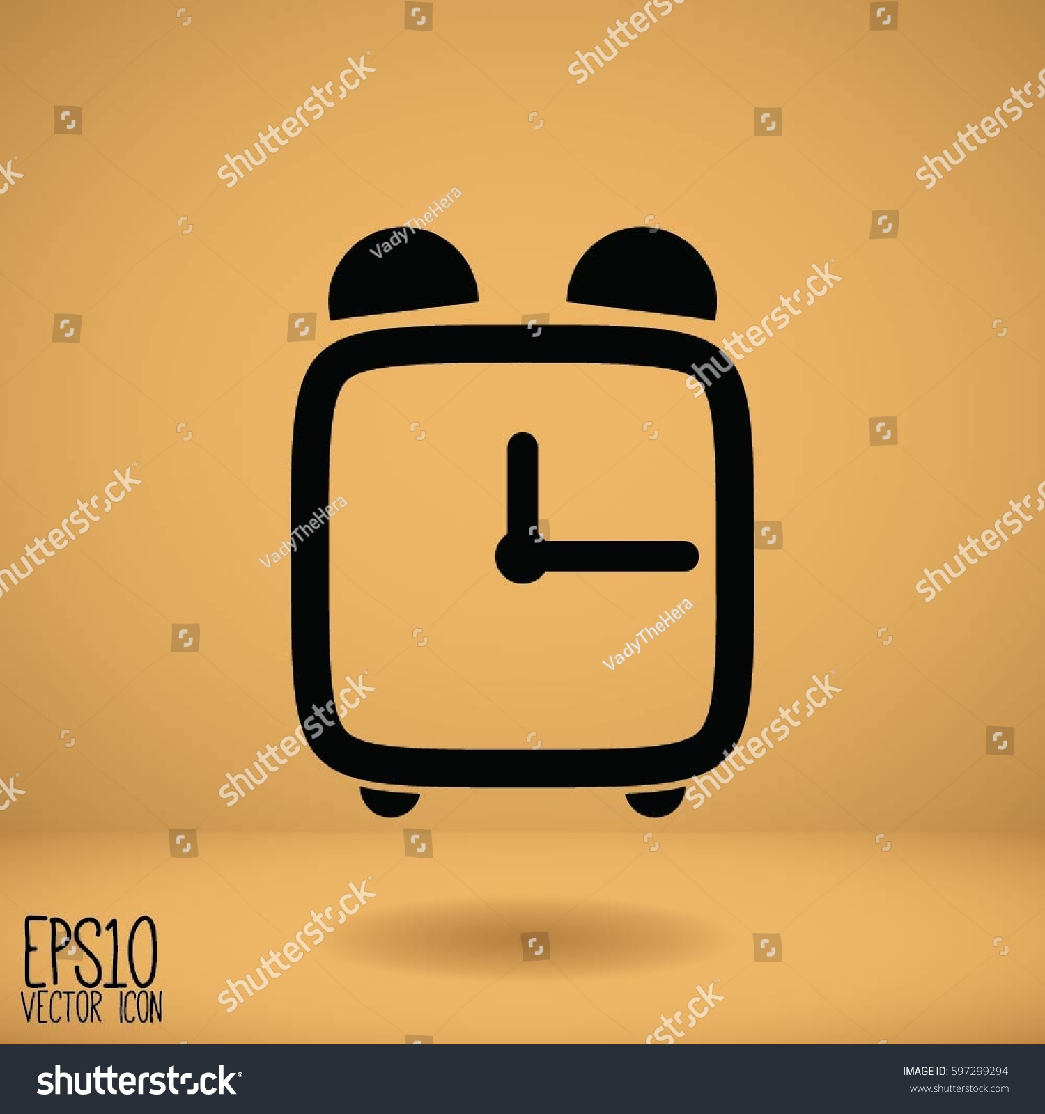 Alarm Clock Flat Style Graphic Web Stock Vector (Royalty Free