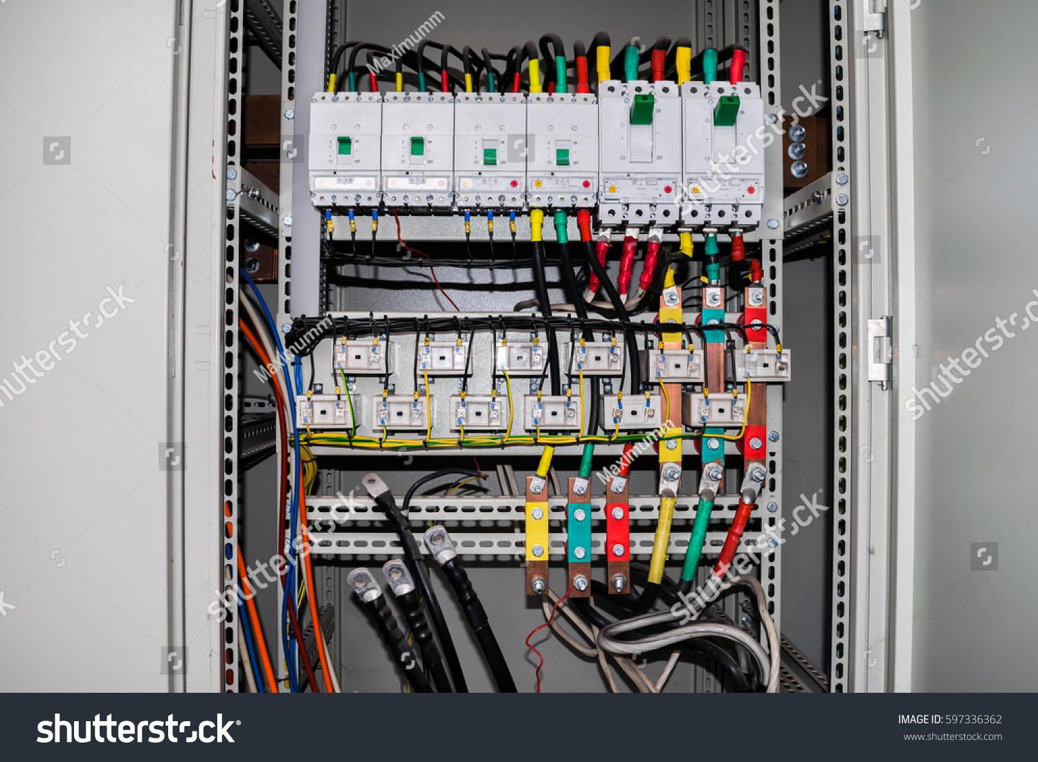 Electrical Box Contains Many Terminals Relays Stock Photo Edit Now Wiring The Wires And Switches