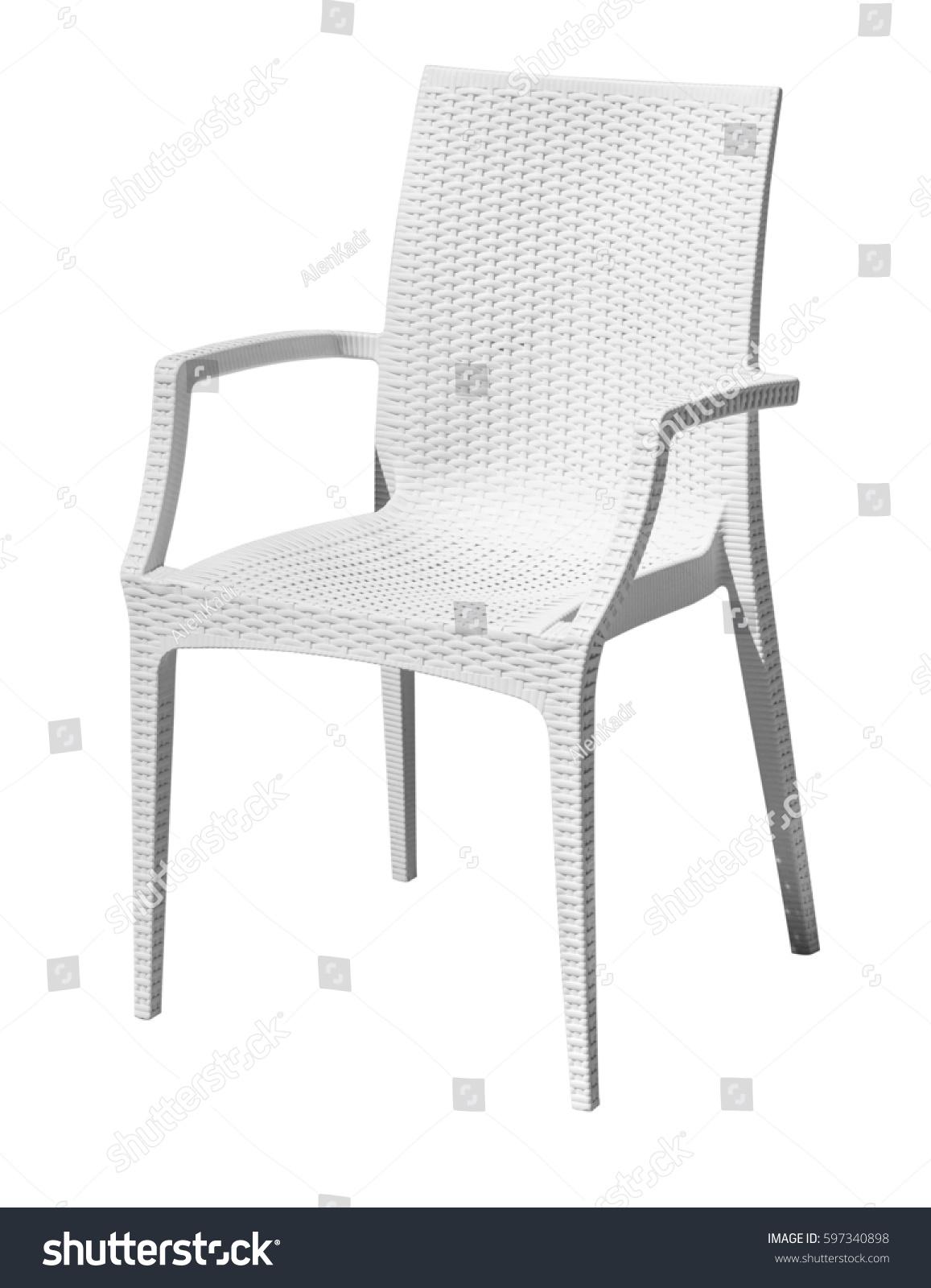 White plastic chair isolated on white stock photo 597340898 shutterstock - Witte plastic stoel ...