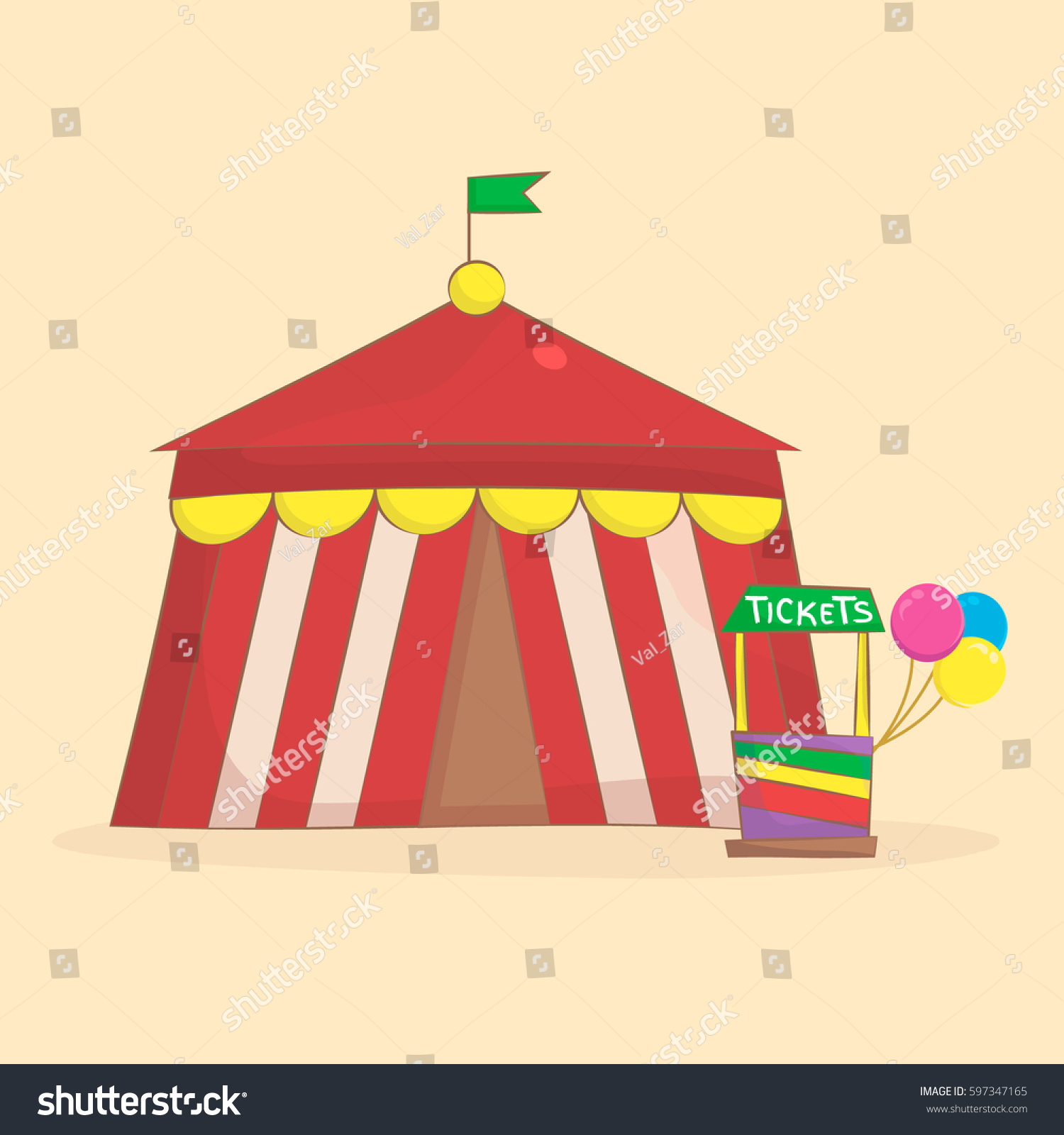 Circus Tent. Amusement Park and Circus Icon in Cartoon Style. Vector illustration.  sc 1 st  Shutterstock & Circus Tent Amusement Park Circus Icon Stock Vector 597347165 ...