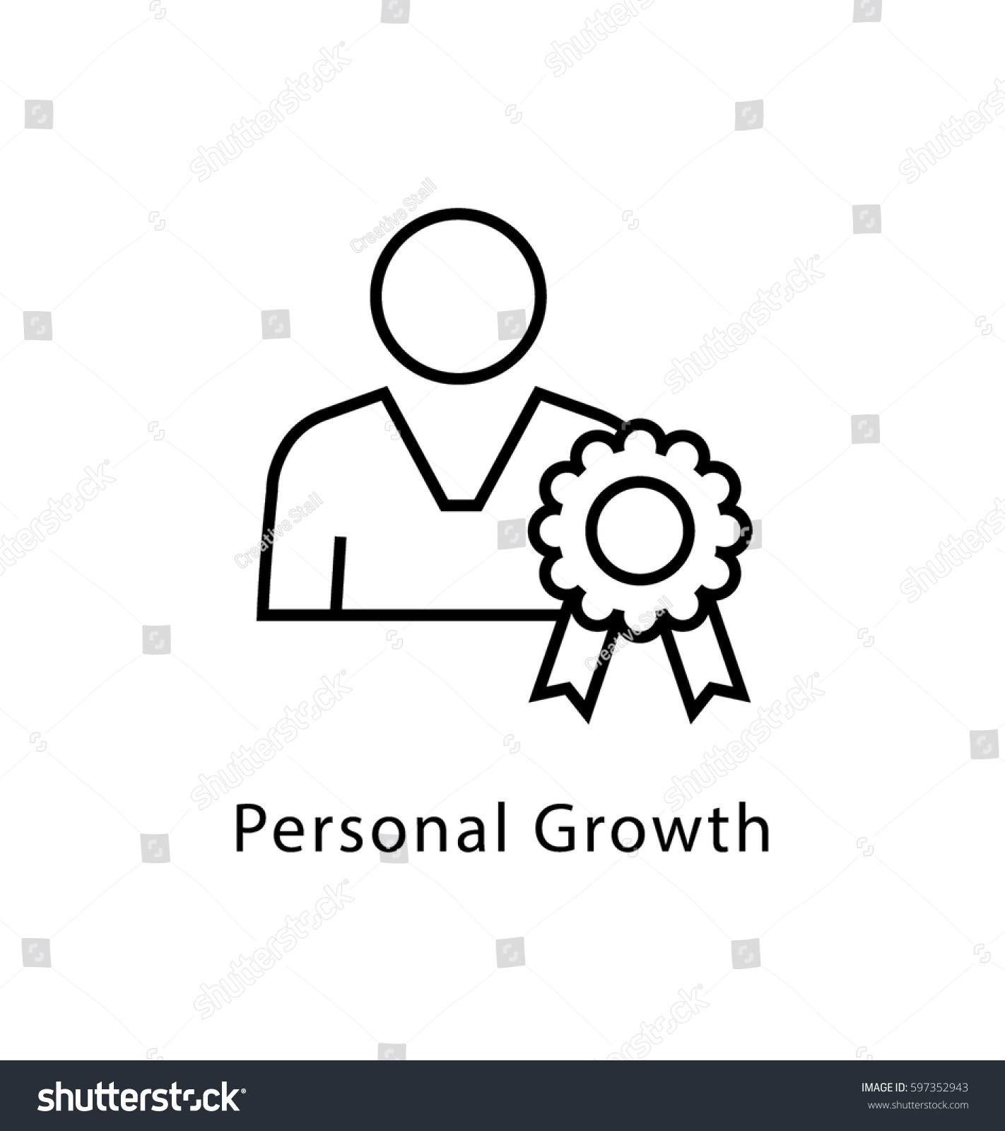 Personal Growth Vector Line Icon Stock Vector Royalty Free