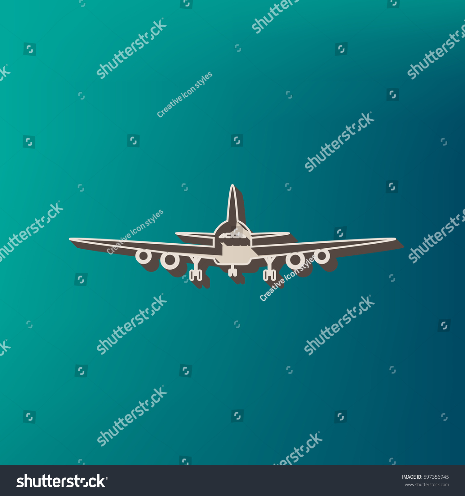 Flying Plane Sign Front View Vector Stock Vector 597356945