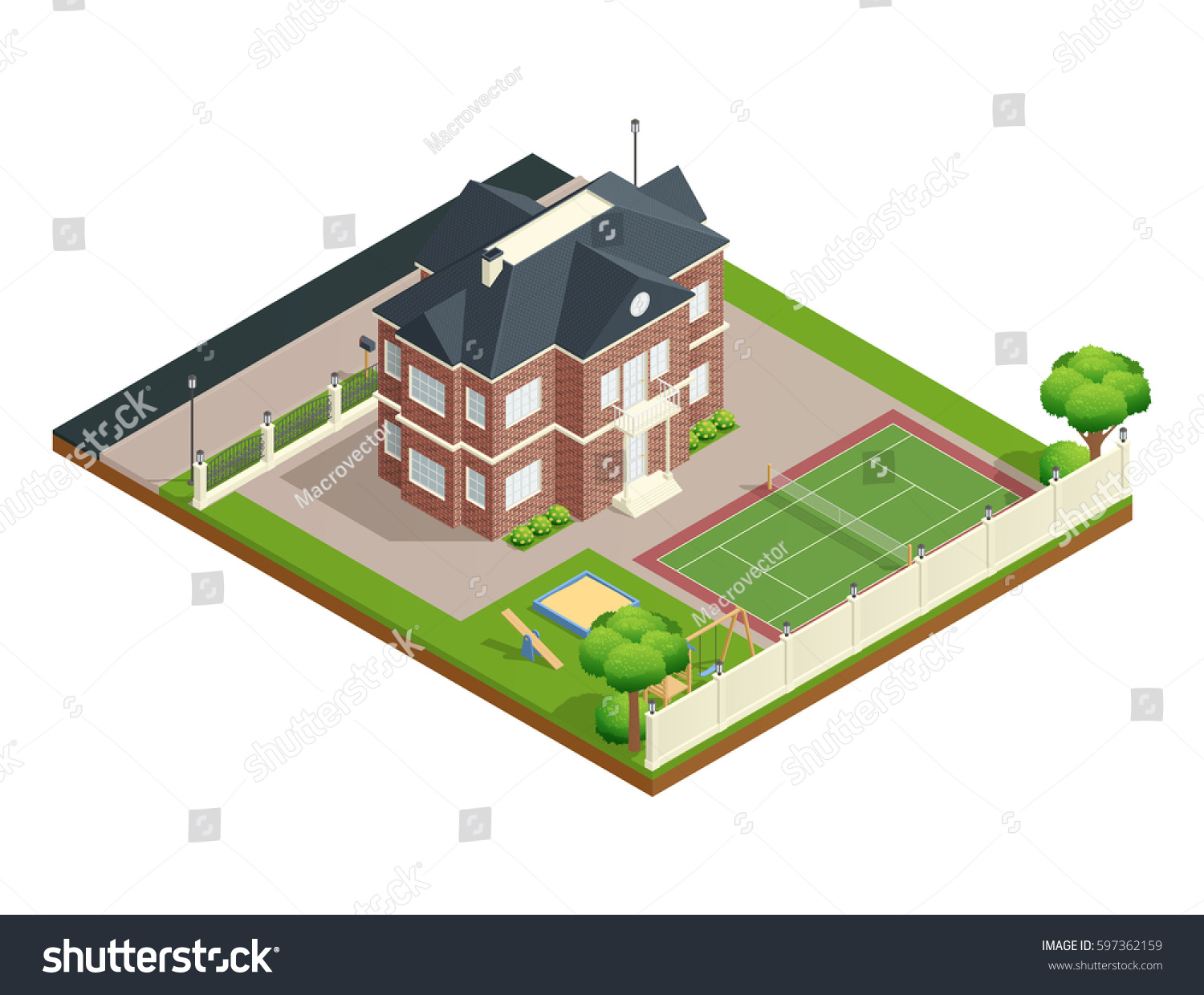 suburb house isometric composition backyard lawn stock vector