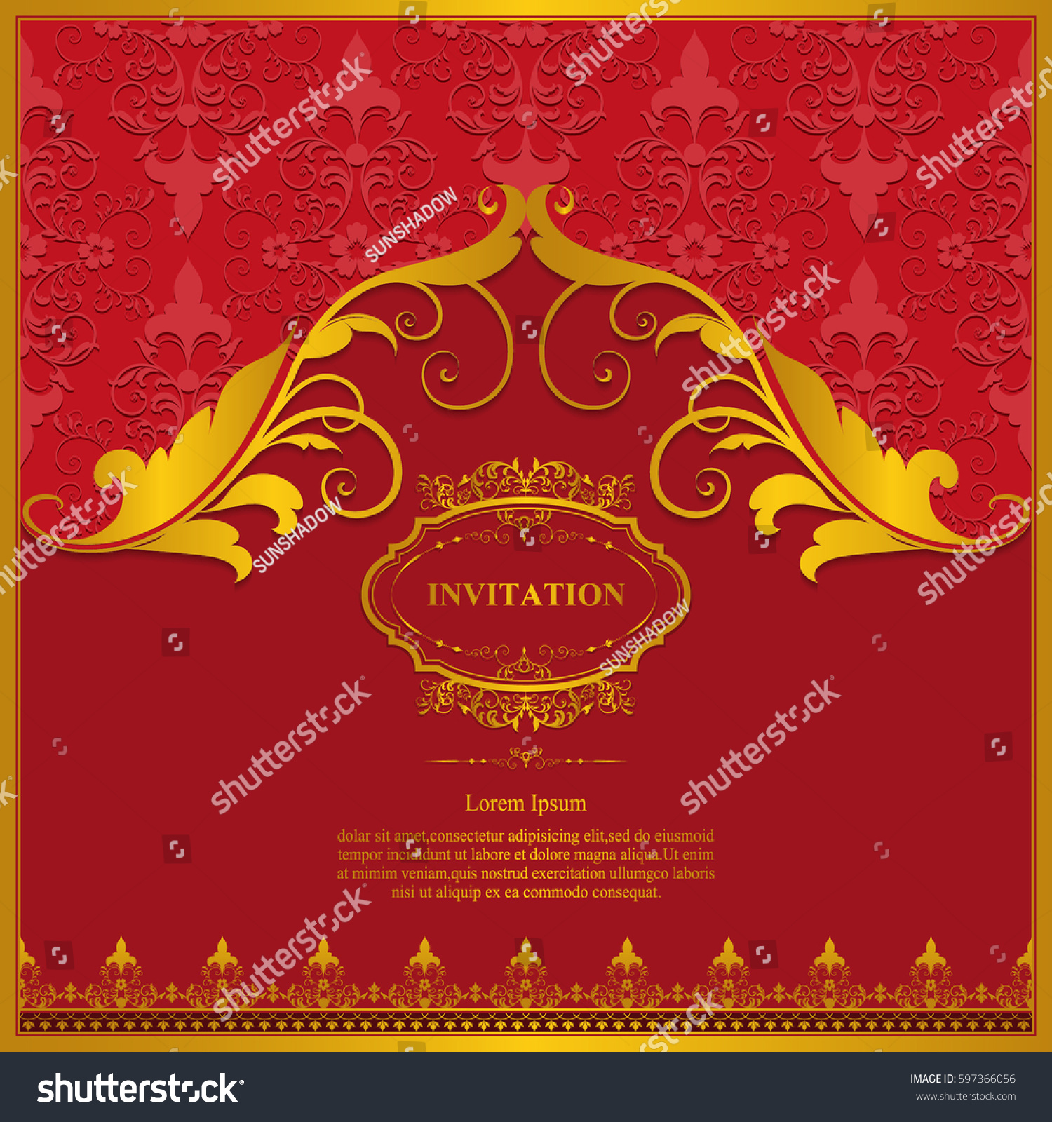 Wedding Invitation Card Vintage Floral Elementsvector Stock Vector ...