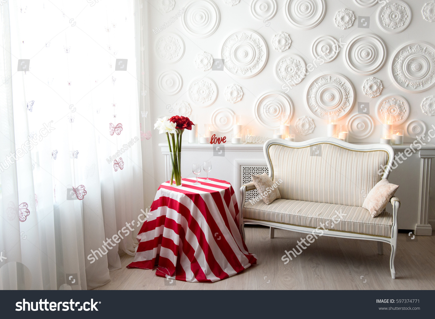 Modern Living Room Bright Colors Warm Stock Photo (Edit Now ...