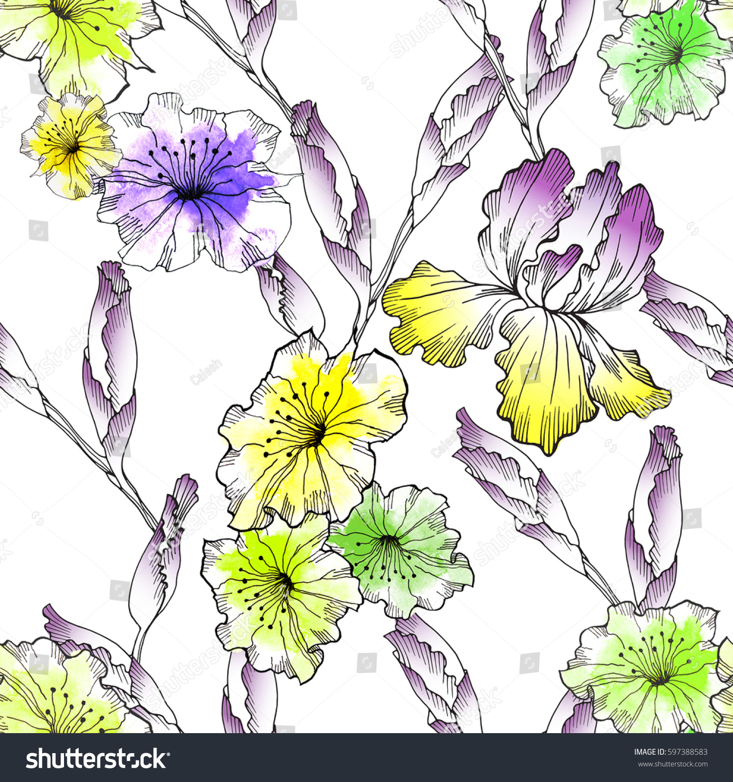 Floral Seamless Pattern Watercolor Vintage Yellow Stock Illustration
