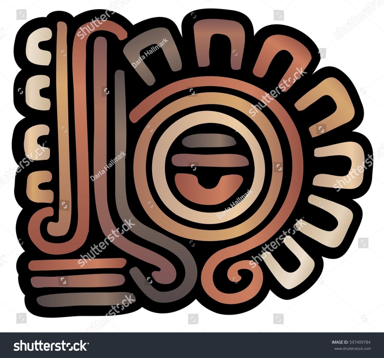 Mysterious Mayan Style Emblem Eye Crown Stock Illustration Royalty
