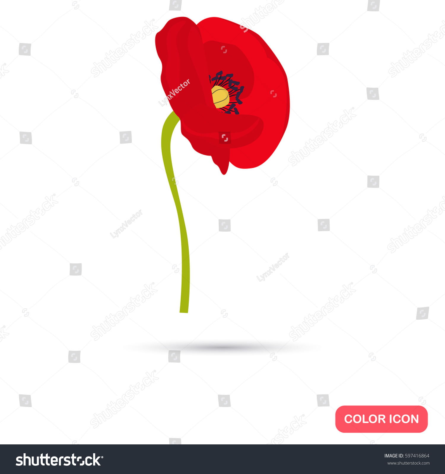 poppy color flat icon for web and mobile design