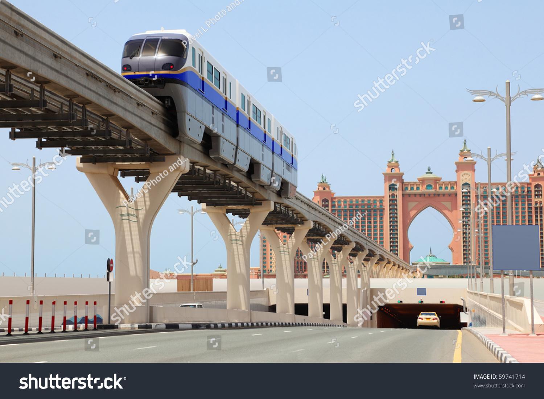 Dubai april 19 atlantis hotel monorail stock photo for Dubai palm hotel dubai