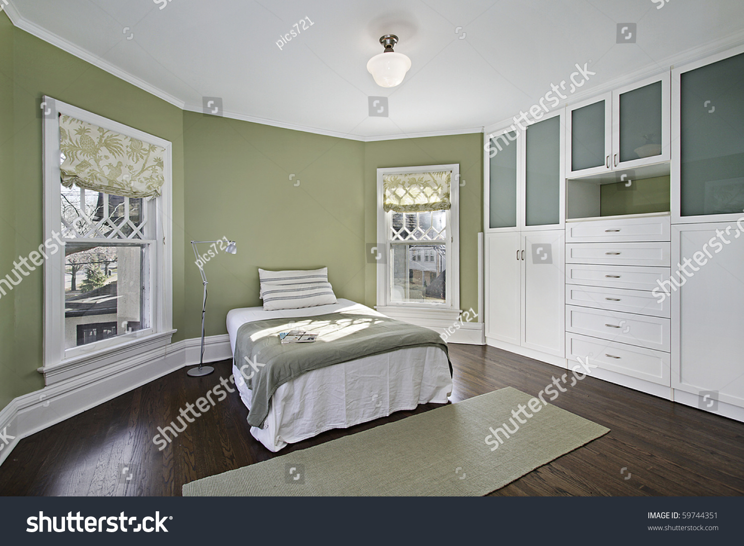 Master Bedroom Green Walls Dark Wood Stock Photo 59744351