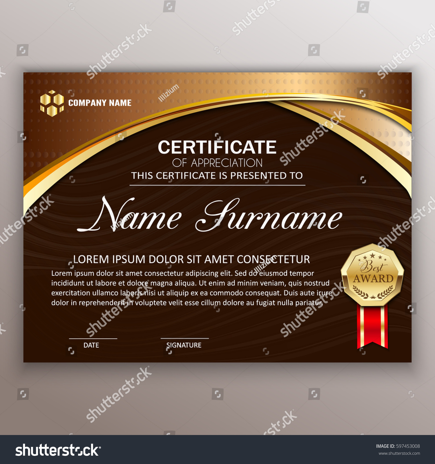 Beautiful Certificate Template Design Best Award Stock ...