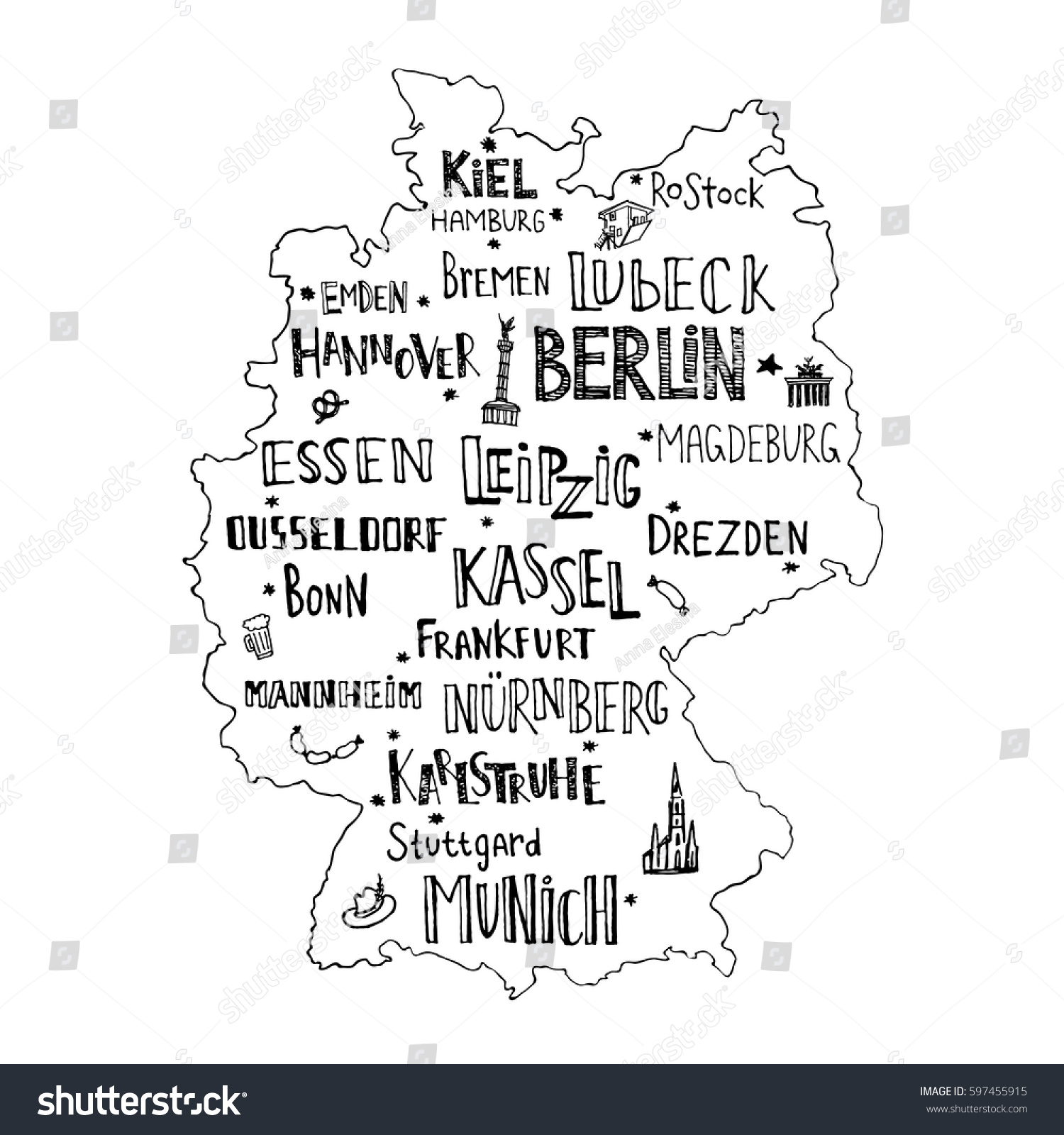 Map Germany Hand Drawn Lettering Main Stock Vector - Germany map main cities